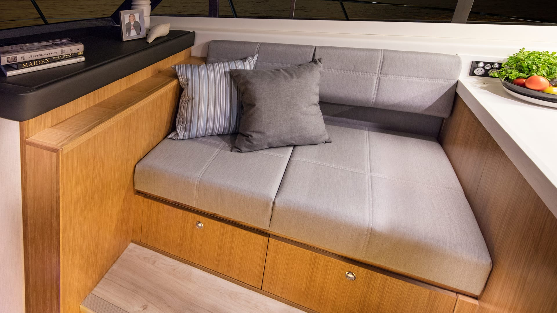 Riviera 395 SUV Forward Saloon Lounge – Satin Oak Timber Finish