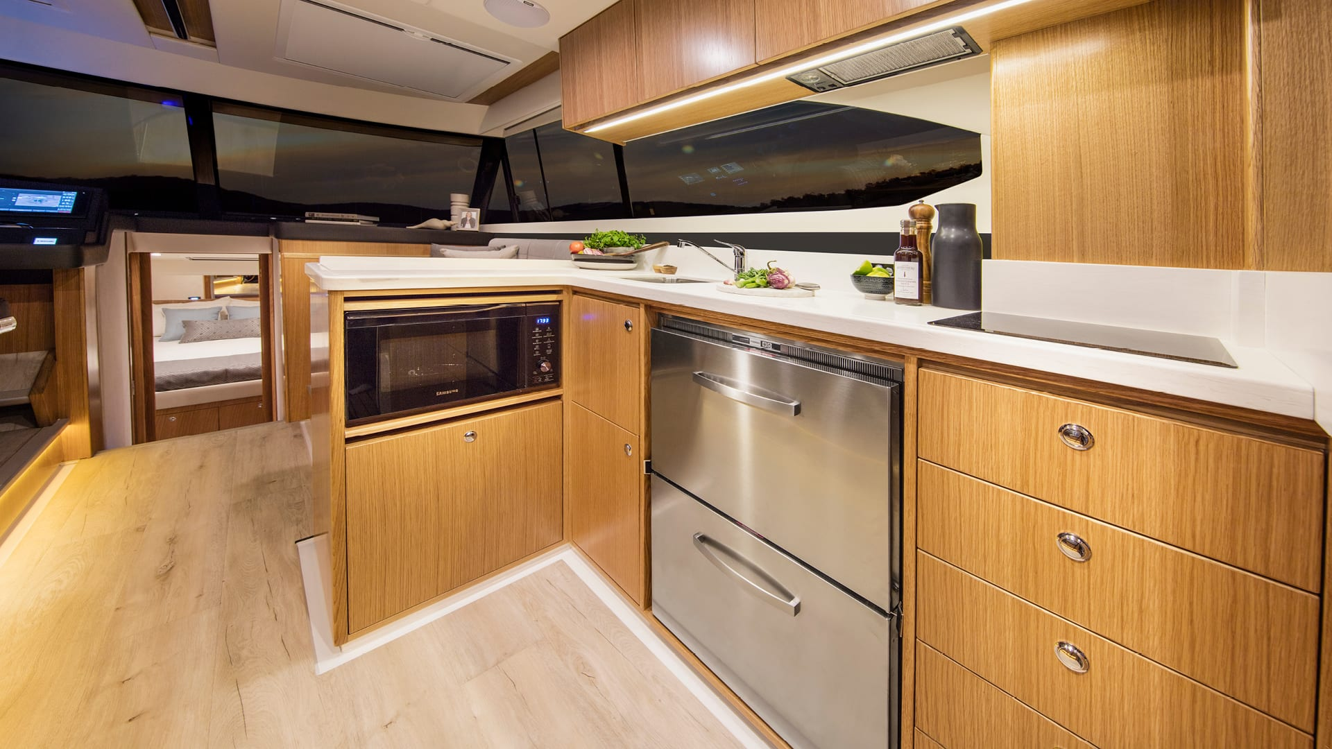 Riviera 395 SUV Galley – Satin Oak Timber Finish