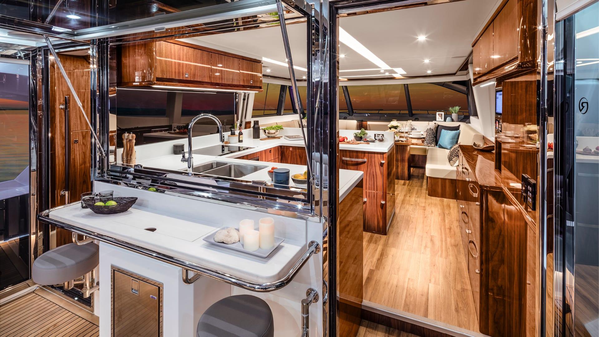 Riviera 68 Sports Motor Yacht Mezzanine Bar