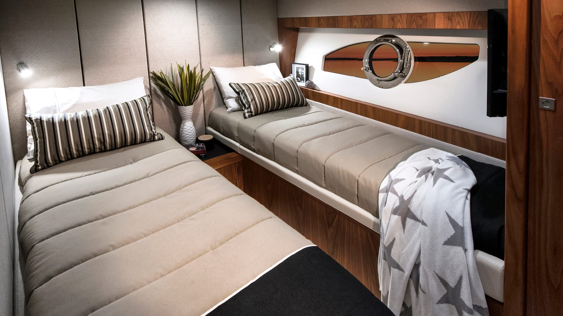 Riviera 68 Sports Motor Yacht Port Stateroom 02 – Satin Walnut Timber Finish