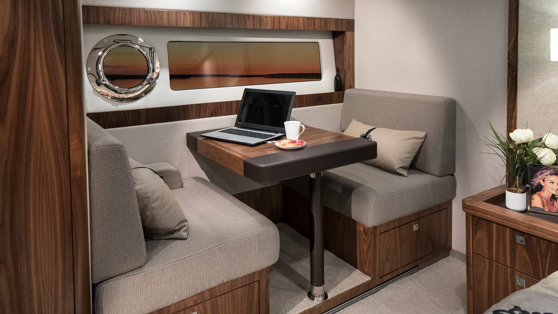 Riviera 68 Sports Motor Yacht Presidential Stateroom Makeup Bureau – Satin Walnut Timber Finish