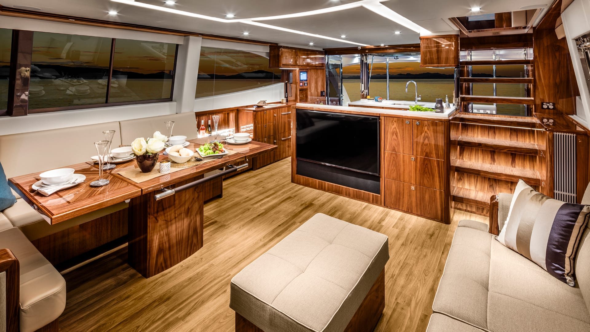 Riviera 68 Sports Motor Yacht Saloon 01 – Gloss Walnut Timber Finish