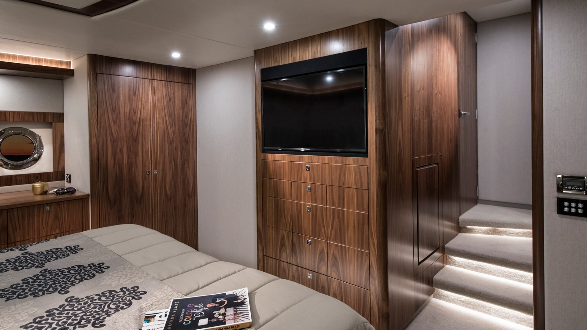 Riviera 72 Sports Motor Yacht Presidential Stateroom Entertainment Centre – Satin Walnut Timber Finish