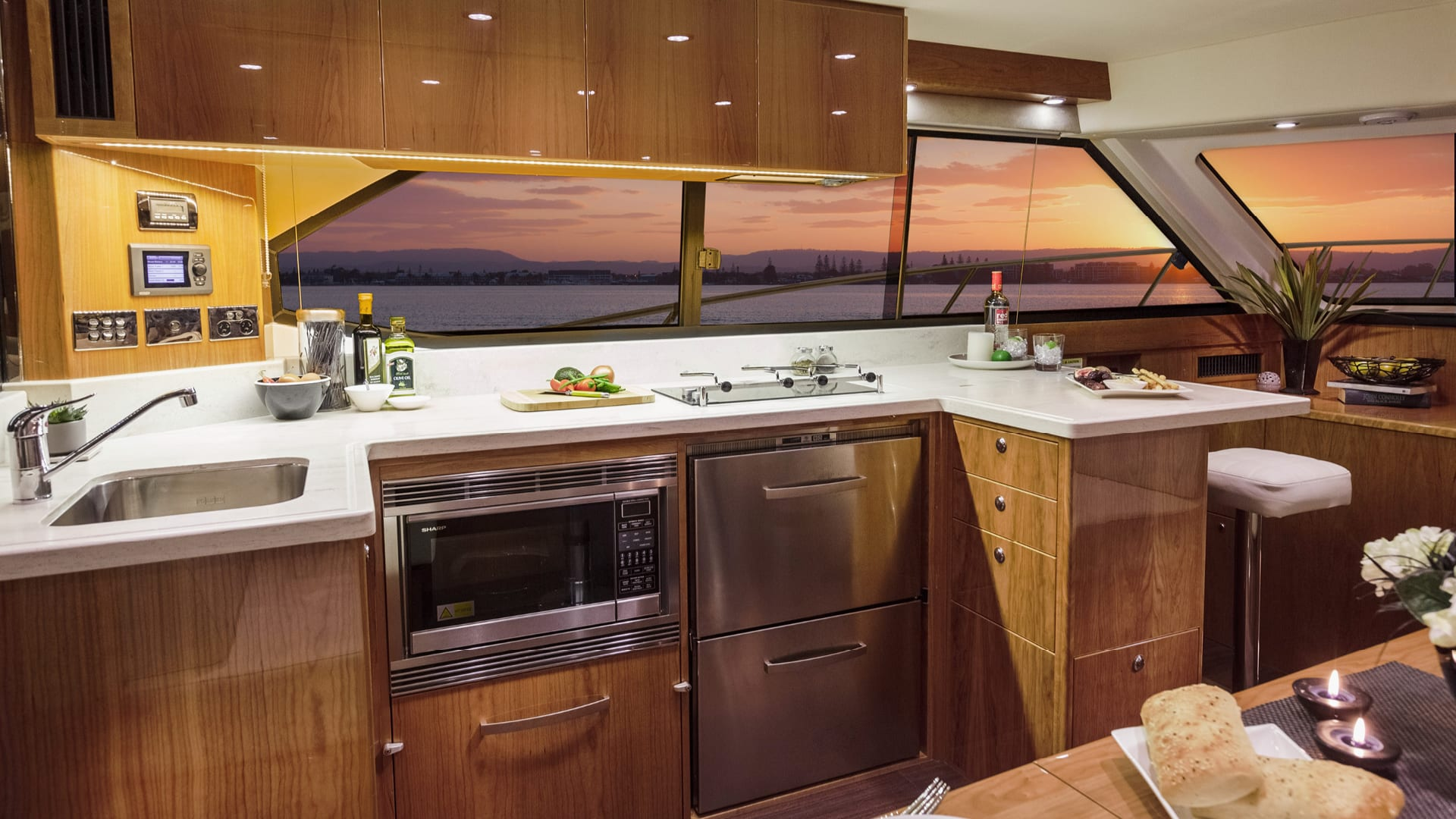 Riviera 43 Open Flybridge Galley – Gloss Cherrywood Timber Finish