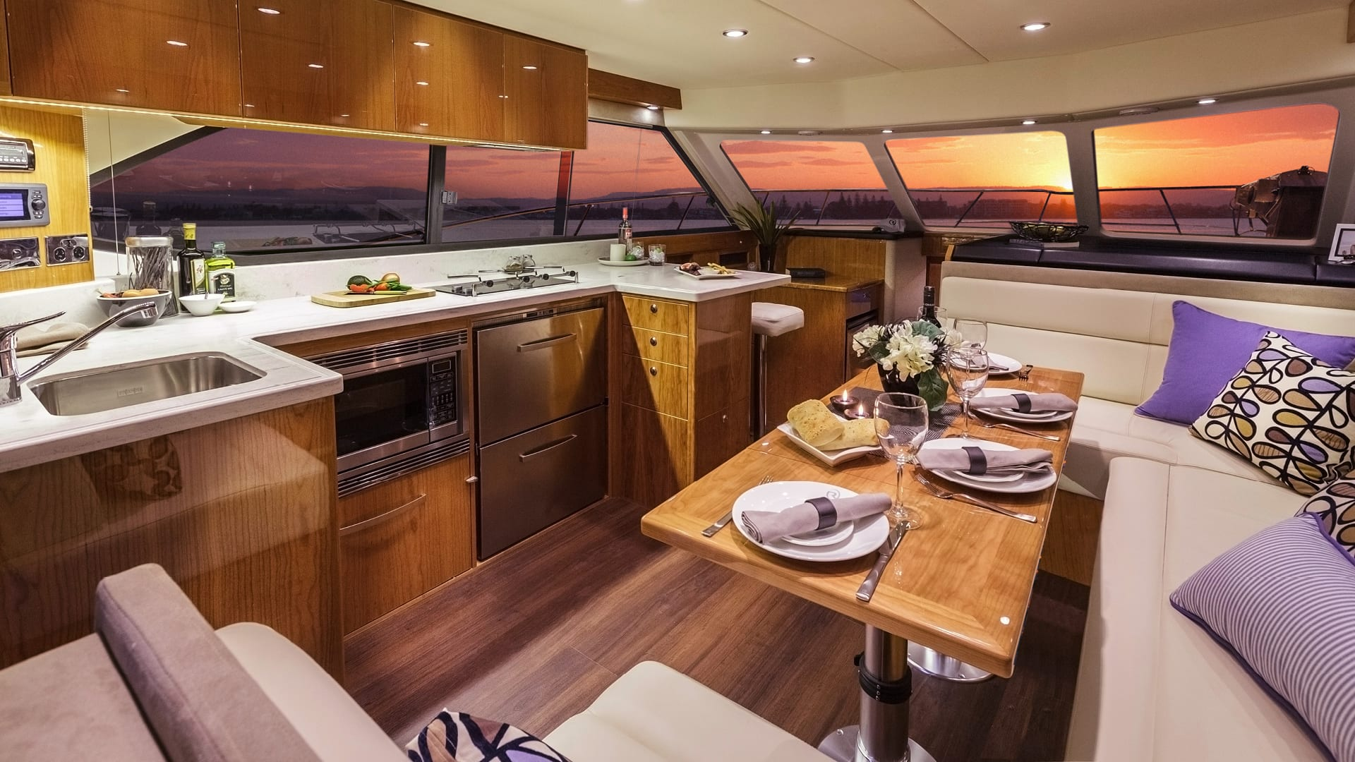 Riviera 43 Open Flybridge Saloon – Gloss Cherrywood Timber Finish