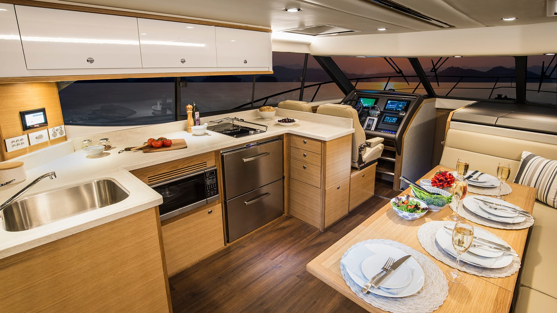 Riviera 445 SUV Saloon 01 – Satin Oak Timber Finish