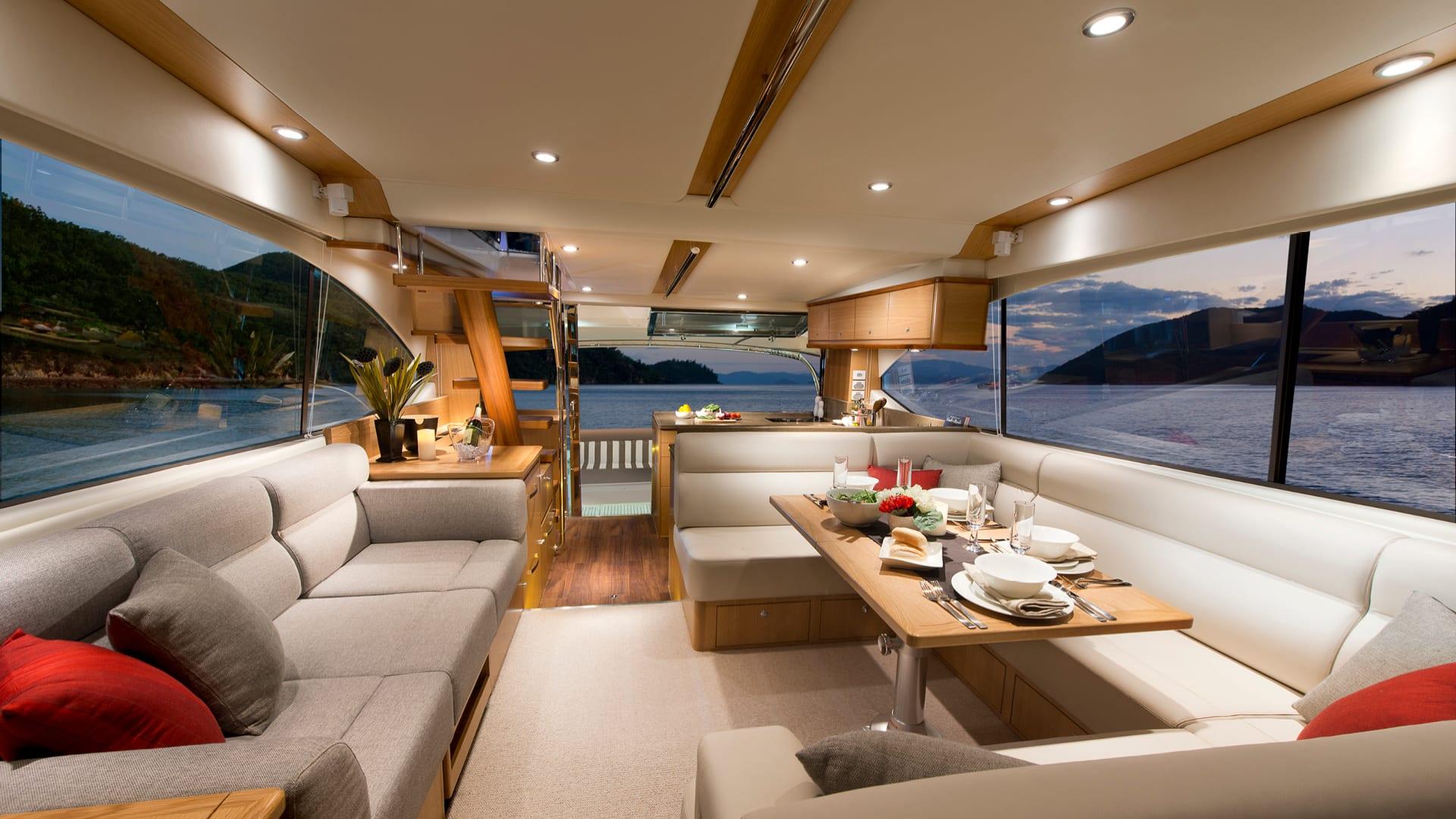 Riviera 52 Enclosed Flybridge Saloon 01