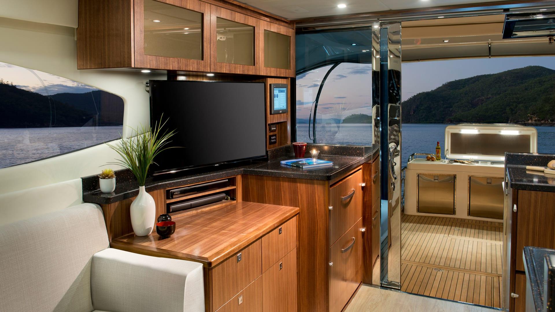 Riviera 6000 Sport Yacht Saloon Entertainment Centre