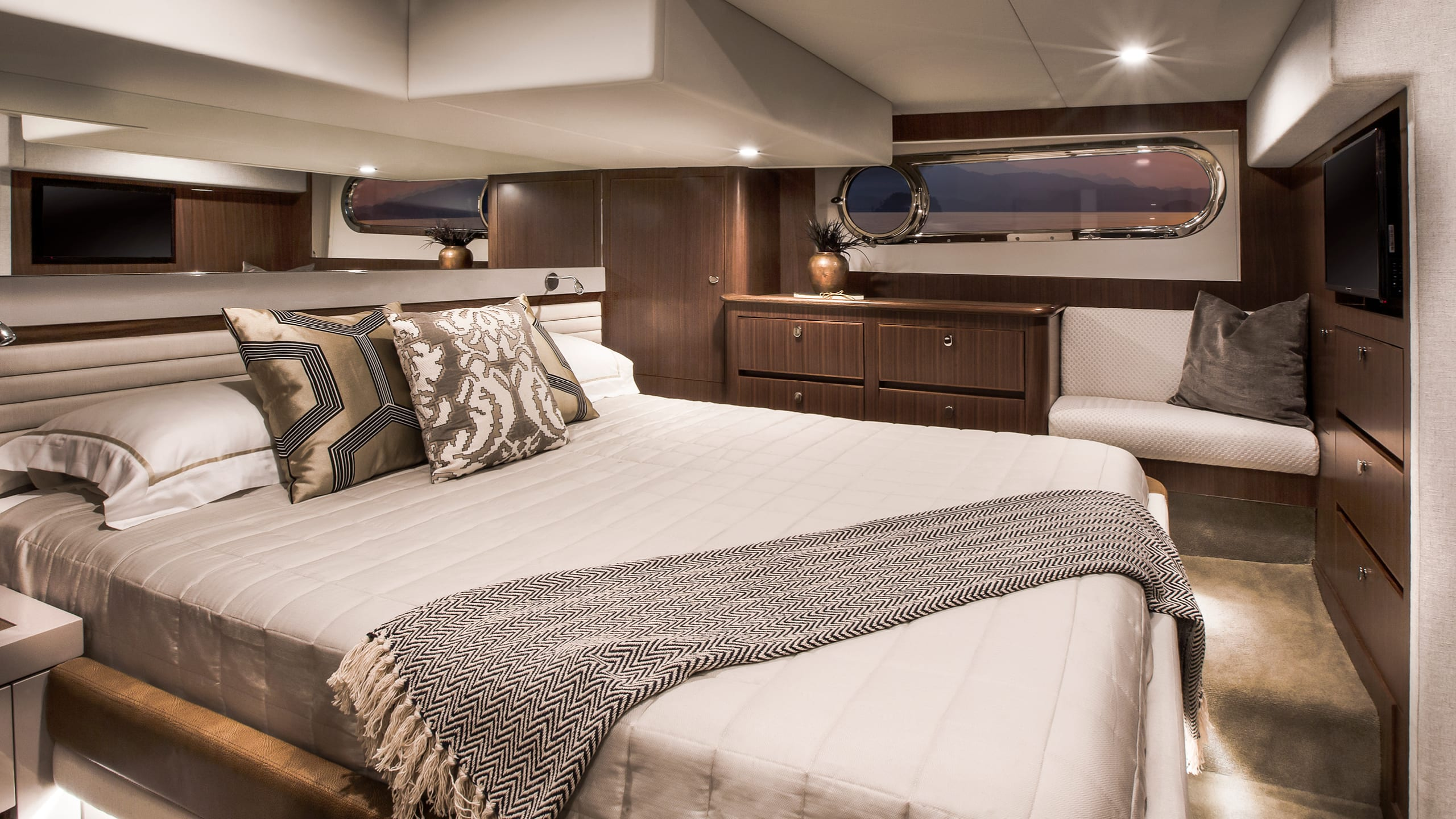 Belize 54 Daybridge Master Stateroom 01 – Satin Walnut Timber Finish