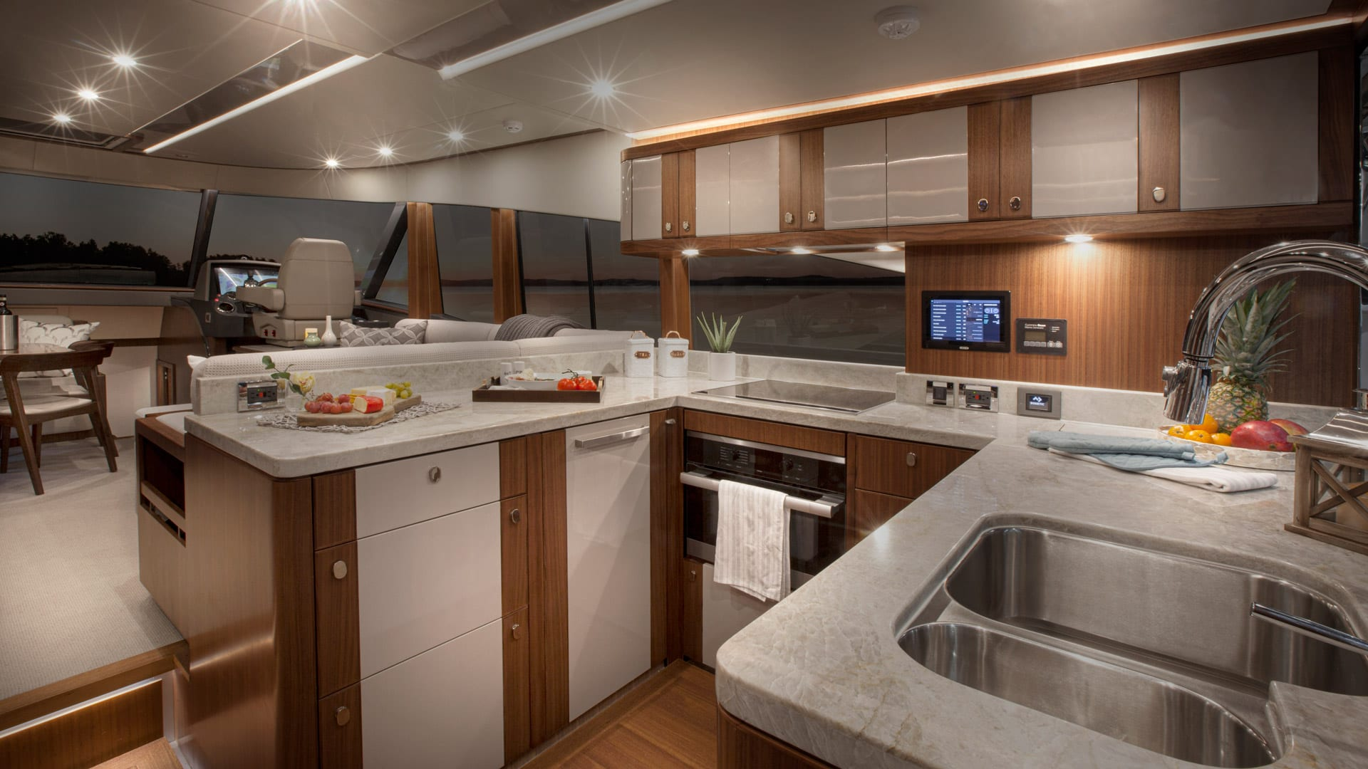 Belize 66 Daybridge Galley 01 – Satin Walnut Timber Finish