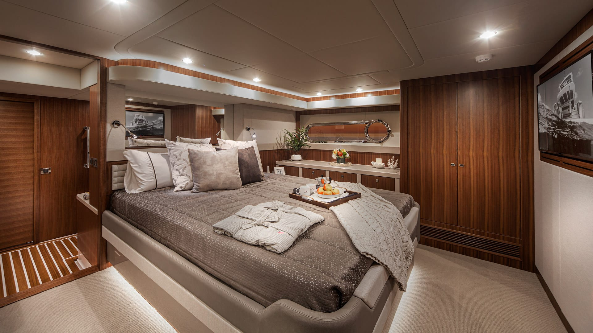 Belize 66 Daybridge Presidential Master Stateroom 01 – Satin Walnut Timber Finish