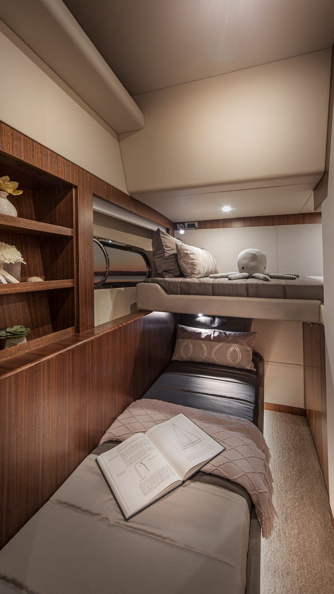 Belize 66 Daybridge Starboard Stateroom 01 – Satin Walnut Timber Finish