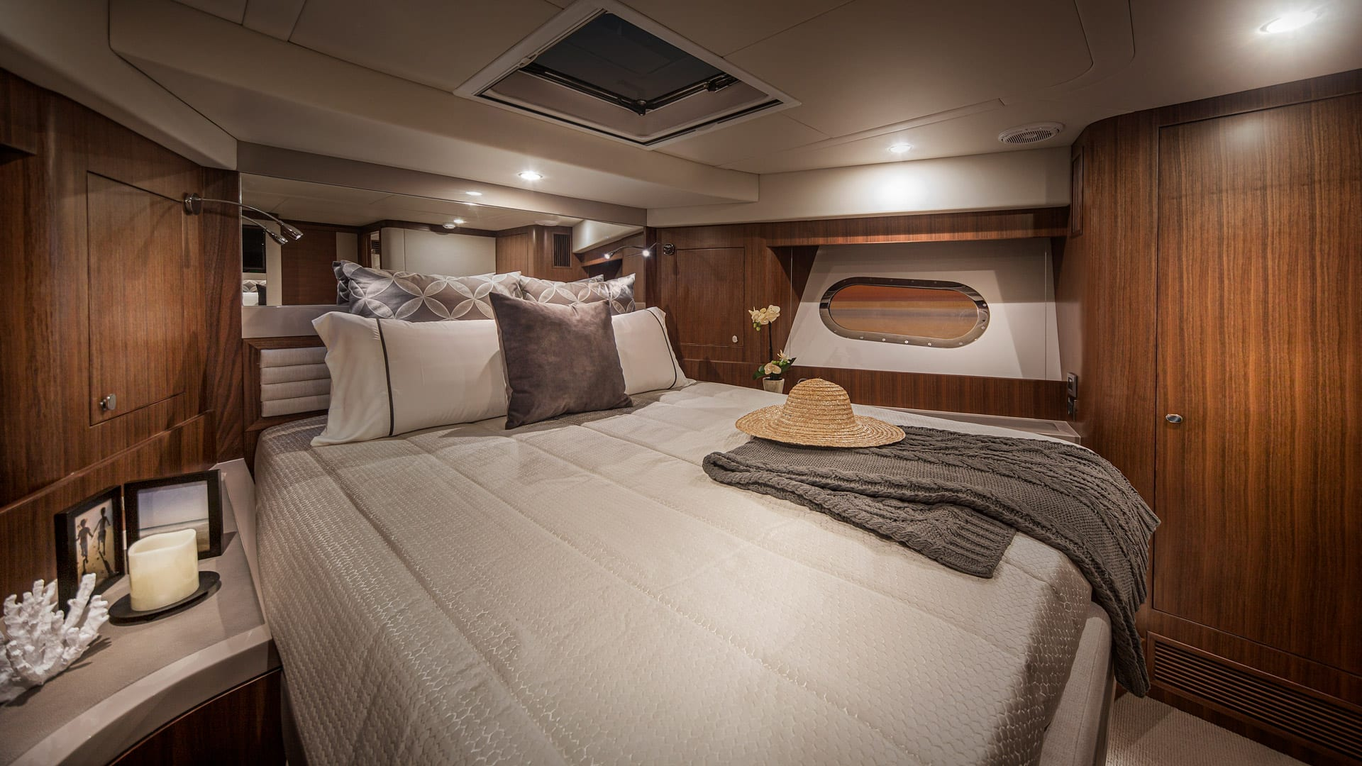Belize 66 Daybridge VIP Stateroom 01 – Satin Walnut Timber Finish
