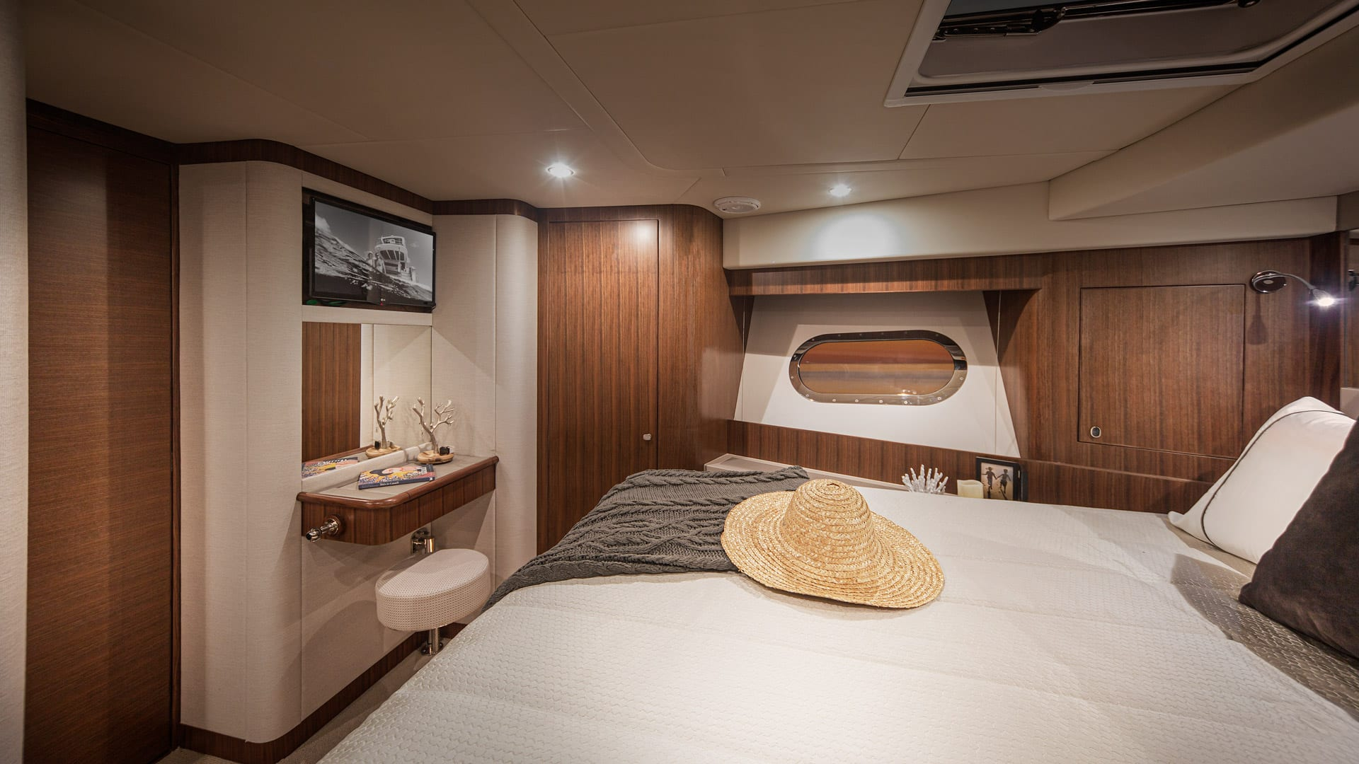 Belize 66 Daybridge VIP Stateroom 02 – Satin Walnut Timber Finish