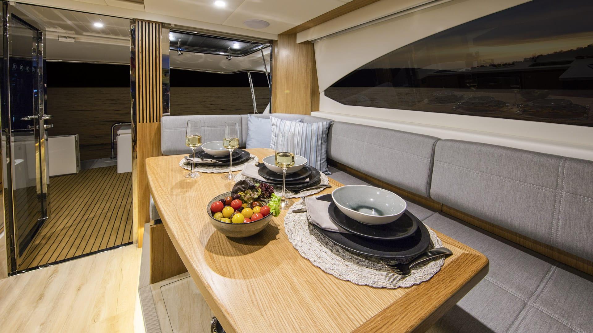 Riviera 39 Open Flybridge Dinette – Satin Oak Timber Finish 02