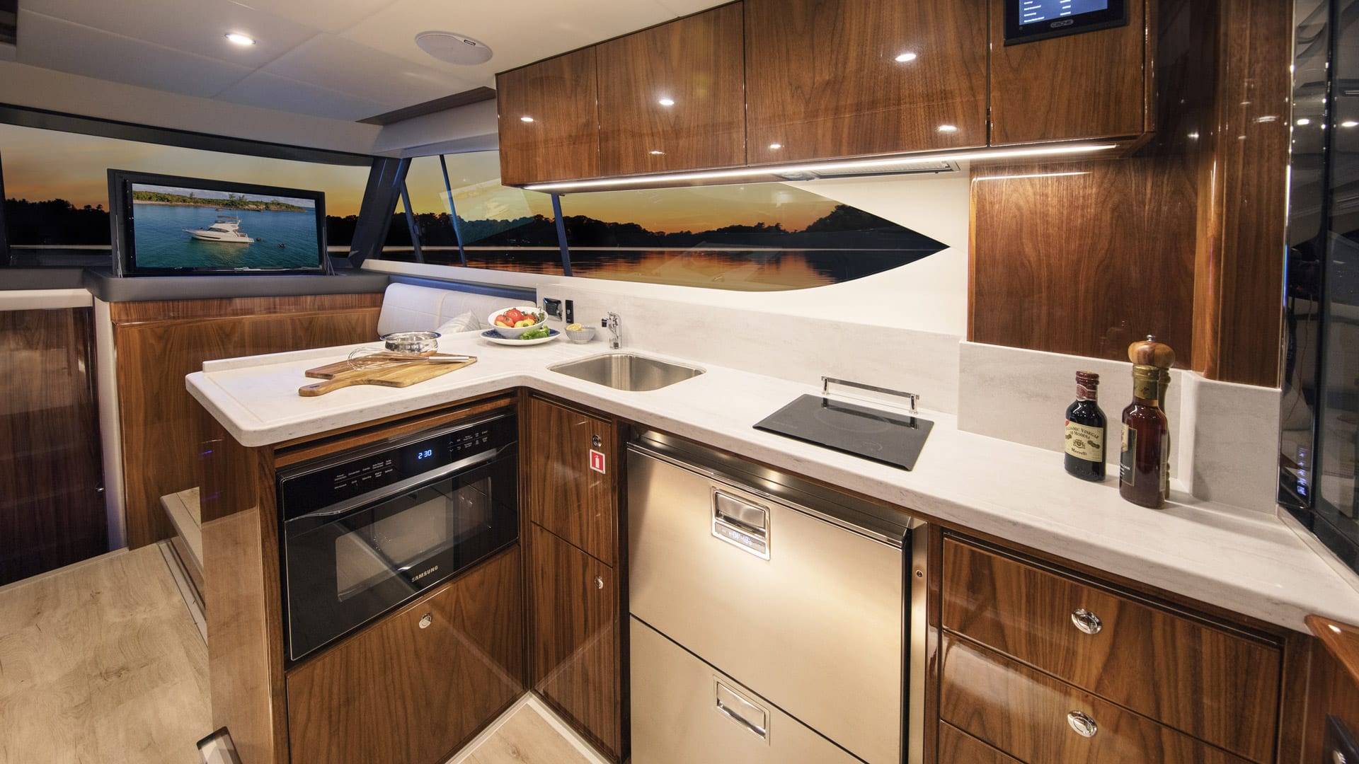 Riviera 39 Open Flybridge Galley – Gloss Walnut Timber Finish 02