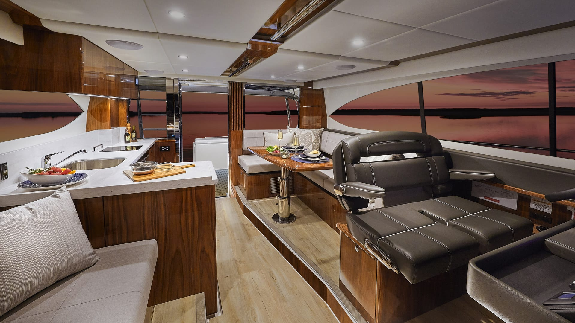 Riviera 39 Open Flybridge Saloon – Gloss Walnut Timber Finish 01