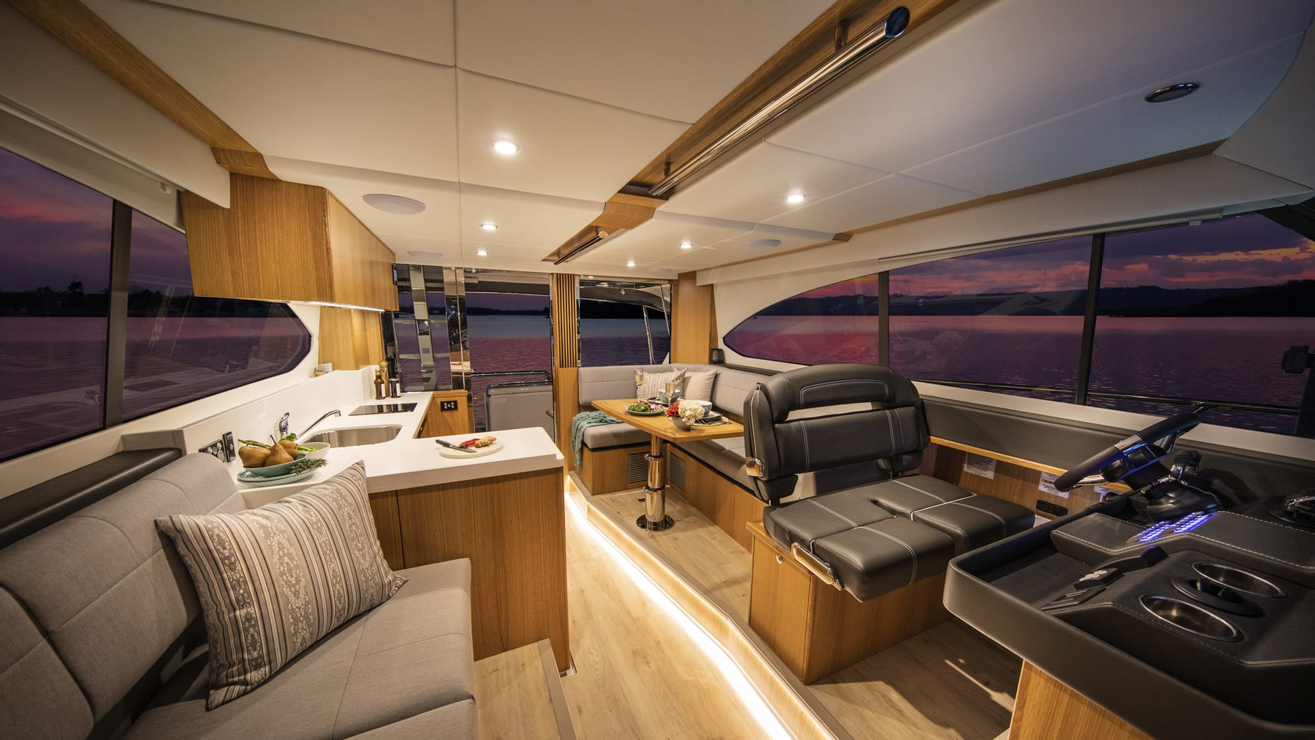 Riviera 39 Open Flybridge Saloon – Satin Oak Timber Finish 01