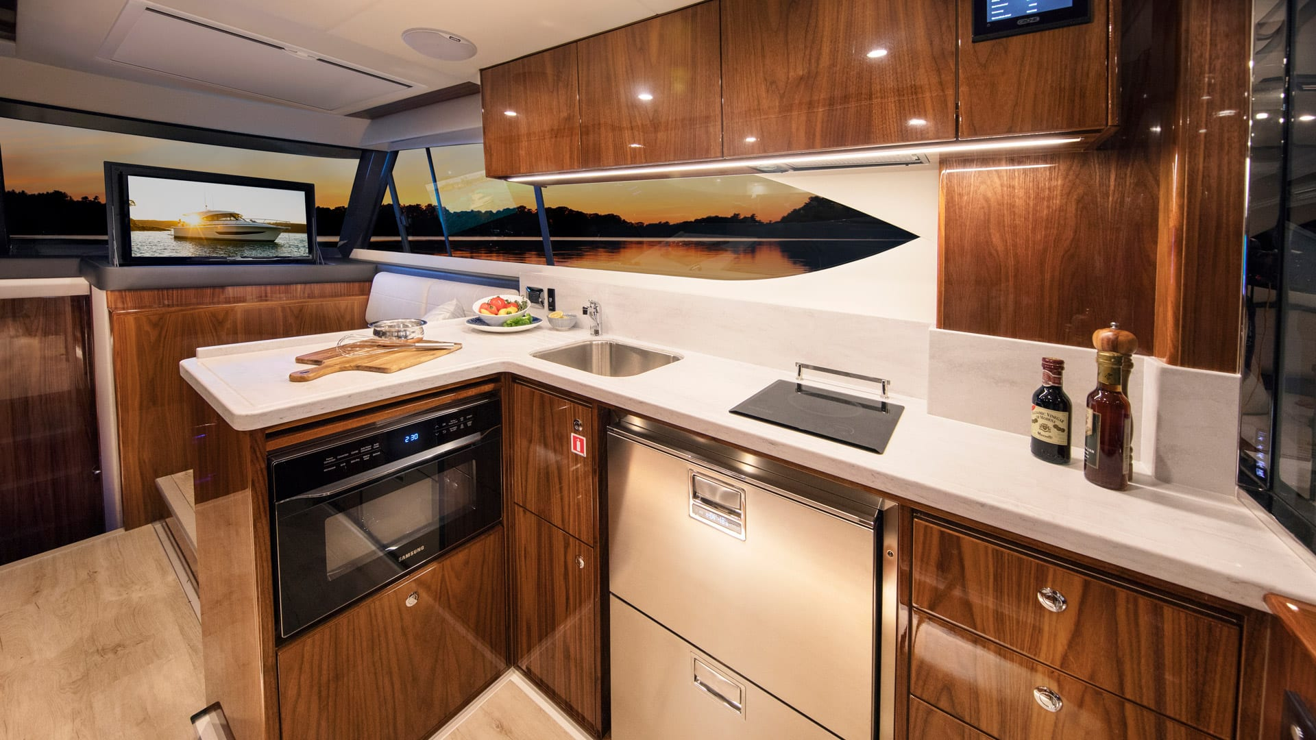 Riviera 395 SUV Galley – Gloss Walnut Timber Finish 01