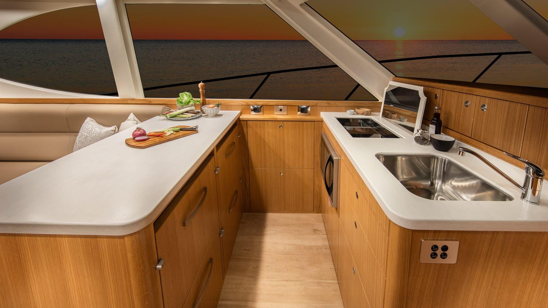 Riviera 45 Open Flybridge Galley 01 – Satin Oak Timber Finish