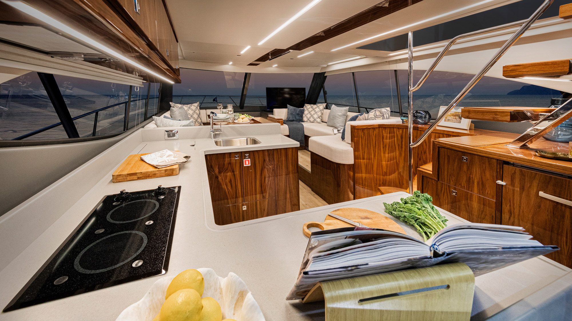Riviera 50 Sports Motor Yacht Saloon 02 – Gloss Walnut Timber Finish