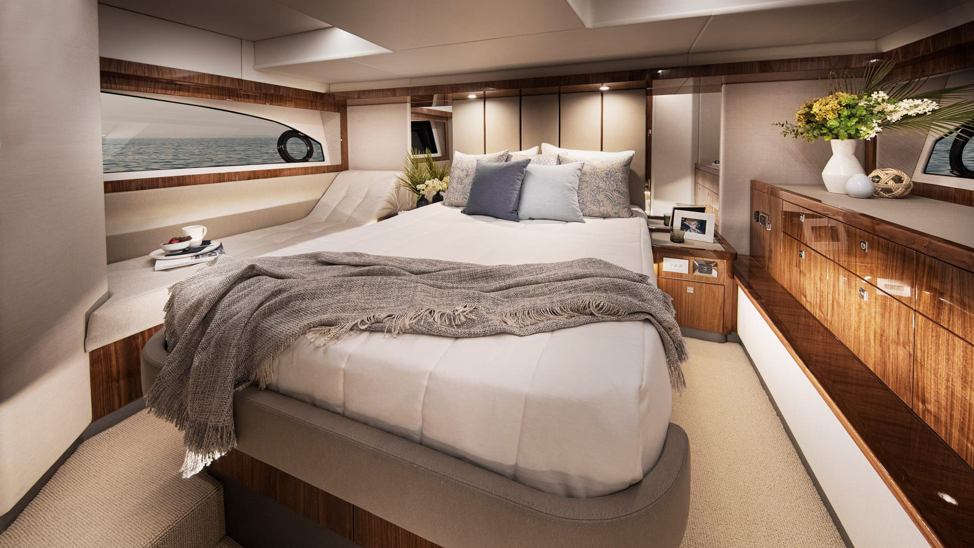 Riviera 505 SUV Master Stateroom 01 – Gloss Walnut Timber Finish
