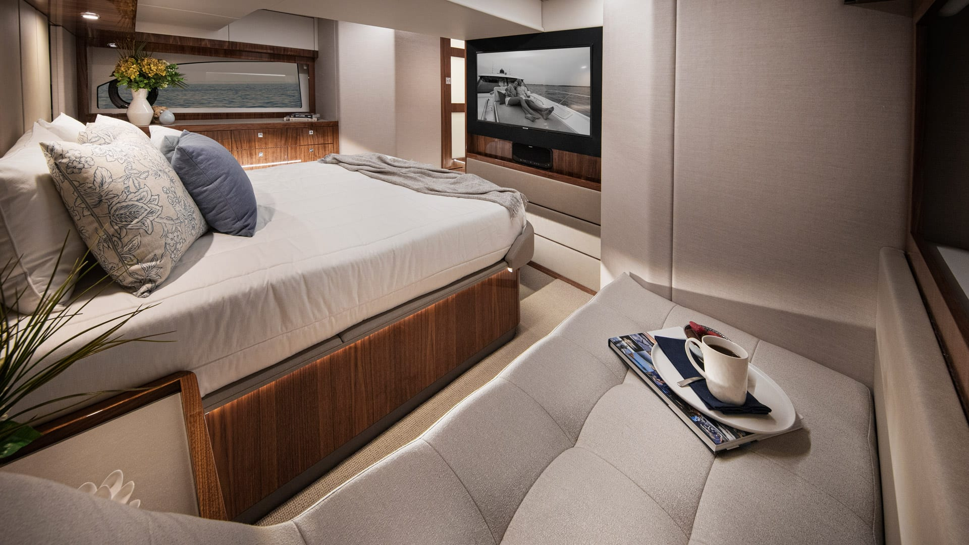 Riviera 505 SUV Master Stateroom 03 – Gloss Walnut Timber Finish