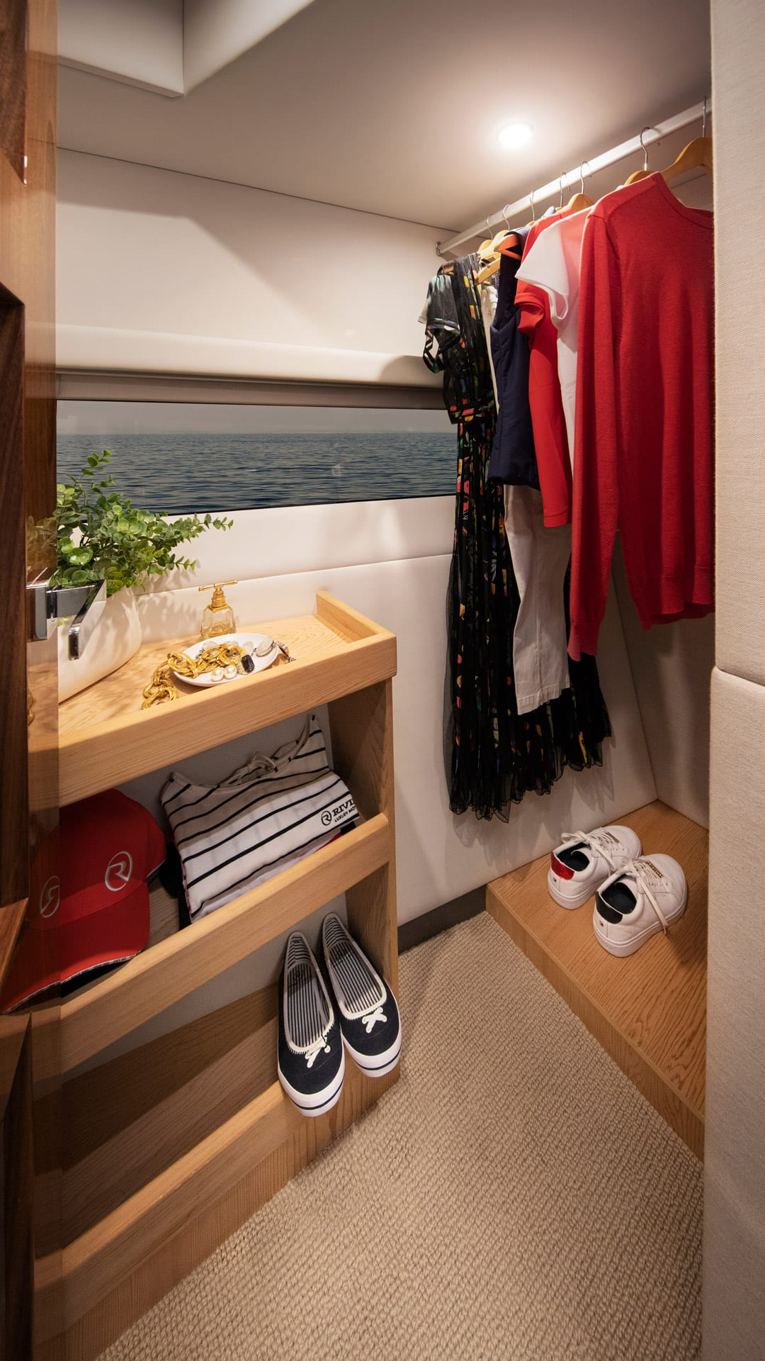 Riviera 505 SUV Master Stateroom WIR 01  – Satin Oak Timber Finish