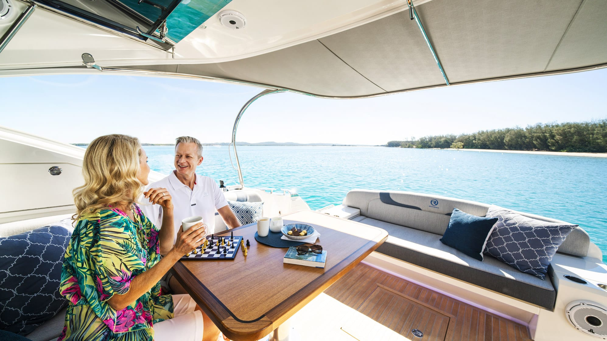 US couple captivated by squeaky sand, manta rays and their luxurious new Riviera 5400 Sport Yacht