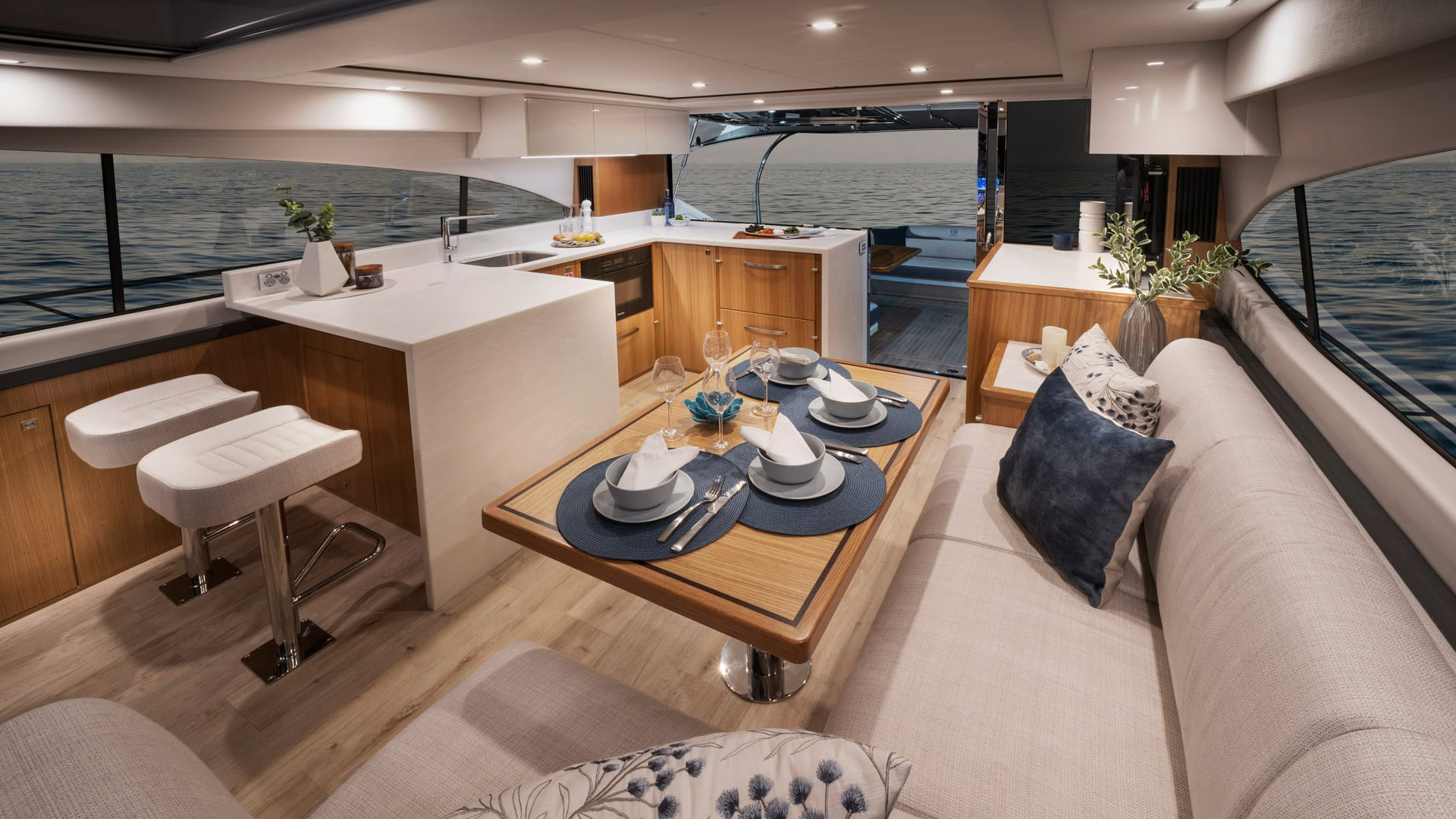 Riviera 5400 Sport Yacht Platinum Edition Saloon 01 – Satin Oak Timber Finish