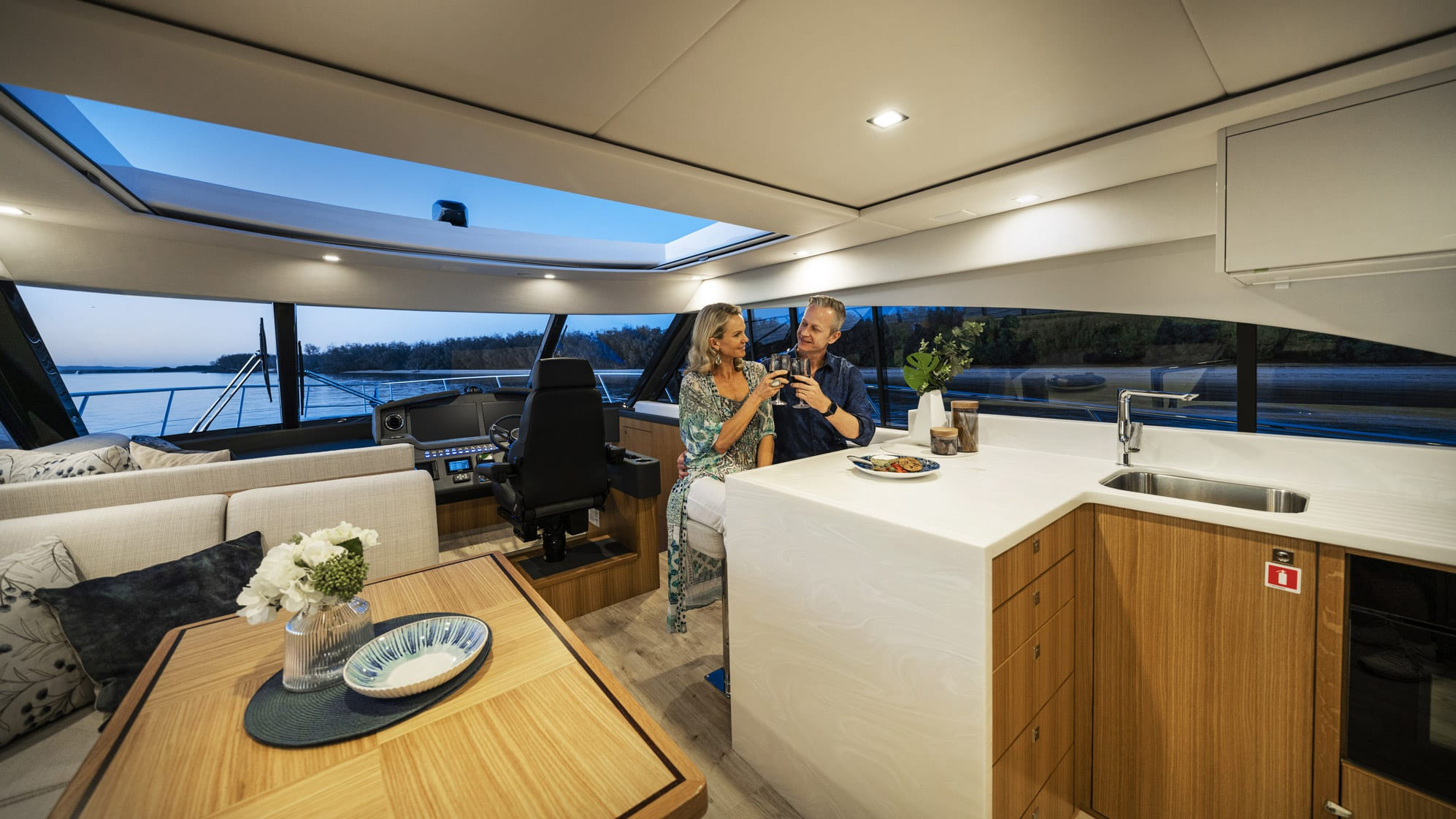 Riviera 5400 Sport Yacht Platinum Edition Saloon 06 – Satin Oak Timber Finish