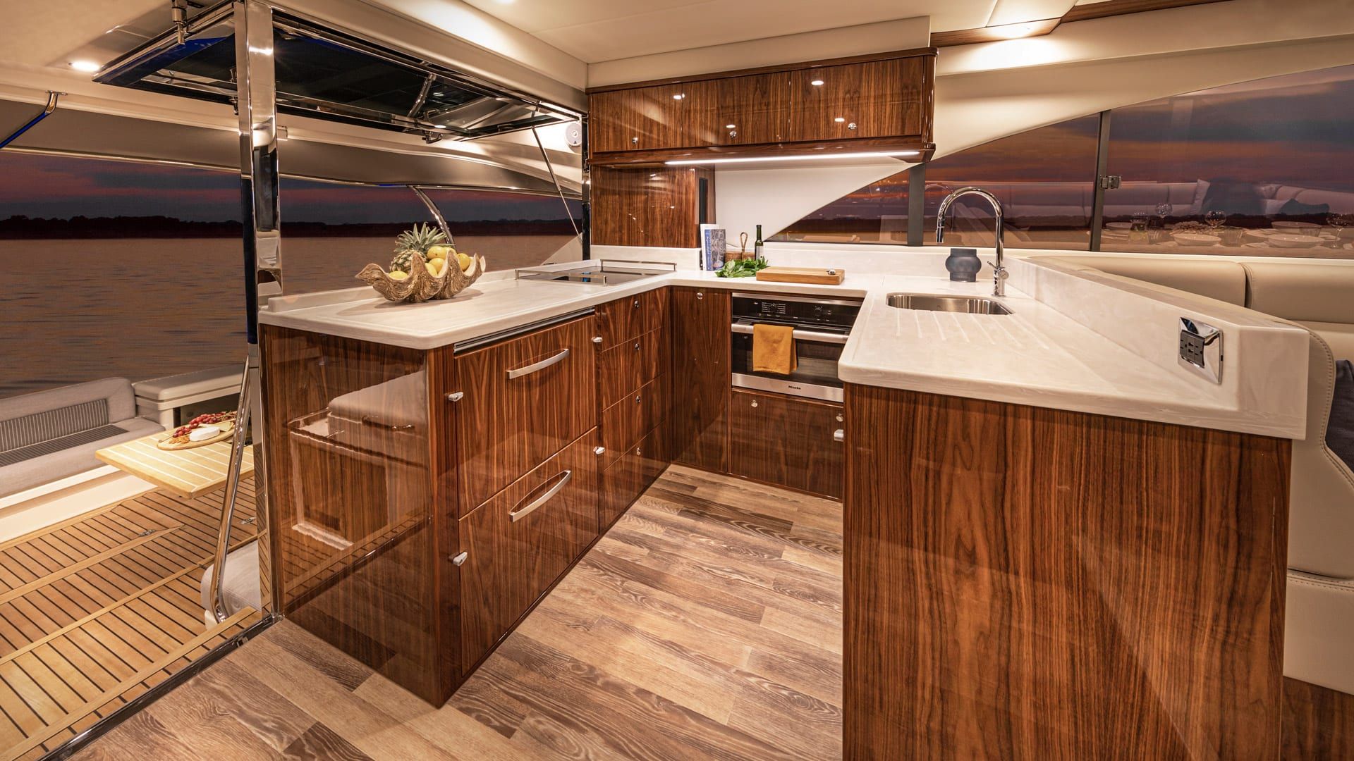 Riviera 57 Enclosed Flybridge Galley – Gloss Walnut Timber Finish