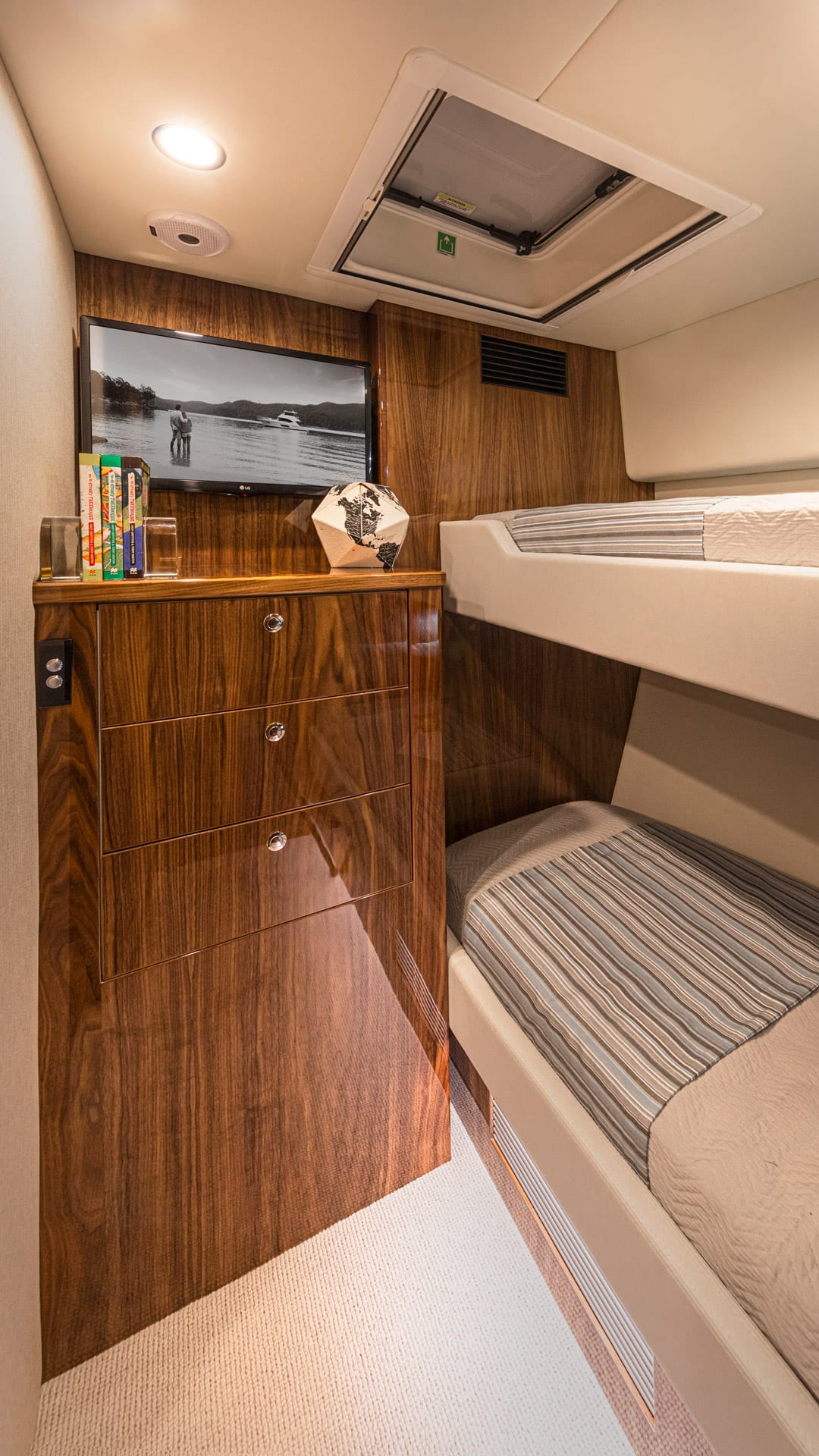 Riviera 57 Enclosed Flybridge Guest Starboard Stateroom 01 – Gloss Walnut Timber Finish