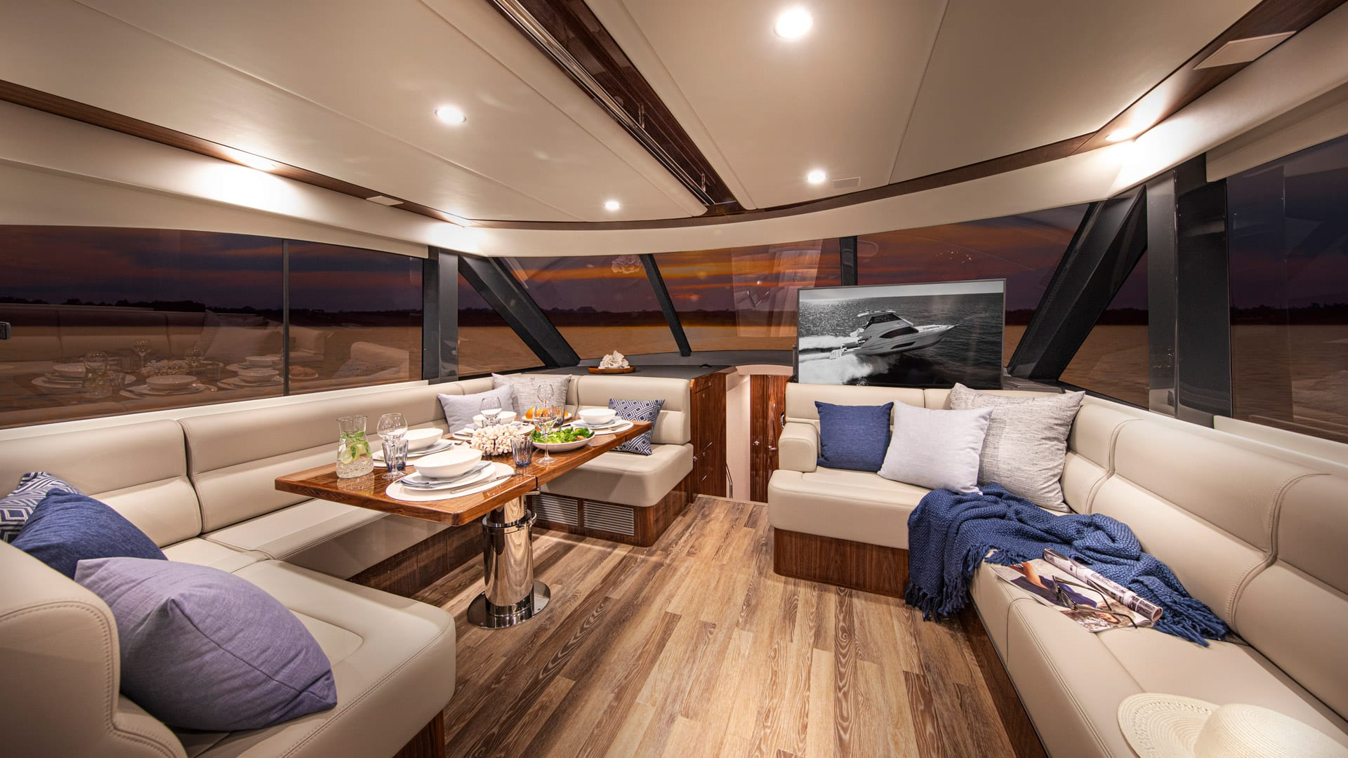 Riviera 57 Enclosed Flybridge Saloon 03 – Gloss Walnut Timber Finish