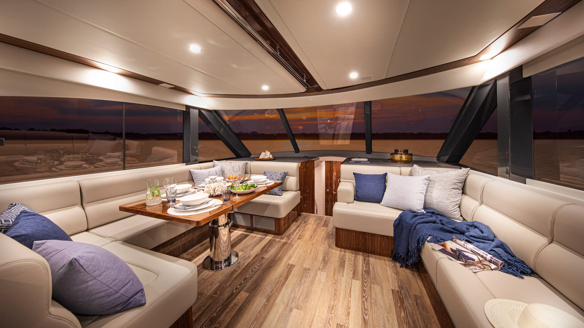 Riviera 57 Enclosed Flybridge Saloon 04 – Gloss Walnut Timber Finish