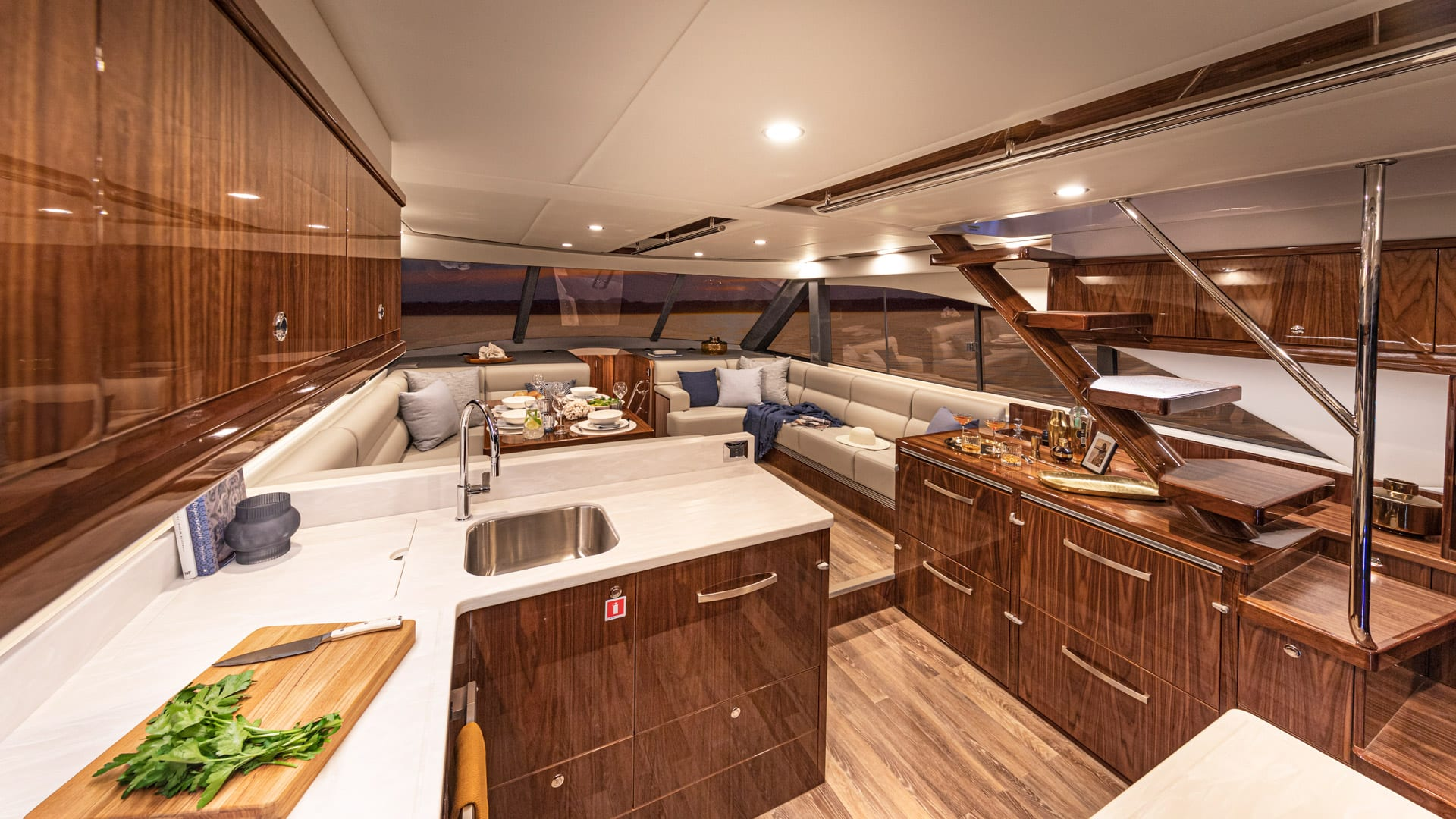 Riviera 57 Enclosed Flybridge Saloon 05 – Gloss Walnut Timber Finish