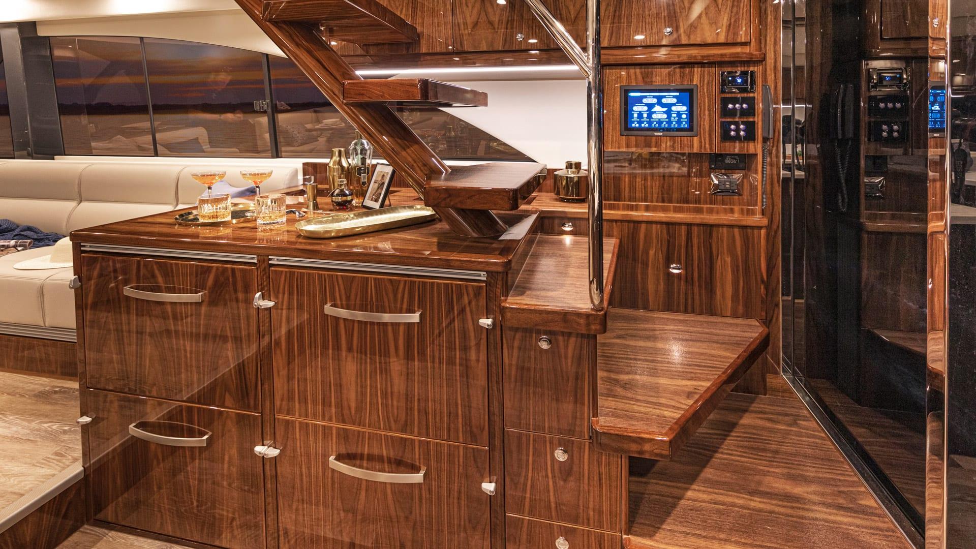 Riviera 57 Enclosed Flybridge Wet Bar 01 – Gloss Walnut Timber Finish