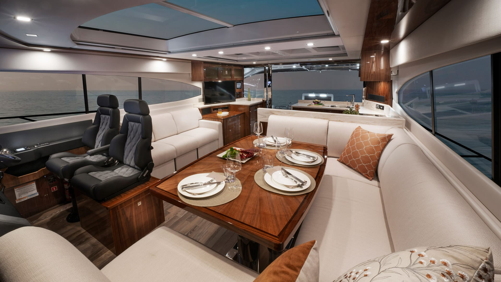 Riviera 6000 Sport Yacht Platinum Edition Saloon 01 – Gloss Walnut Timber Finish