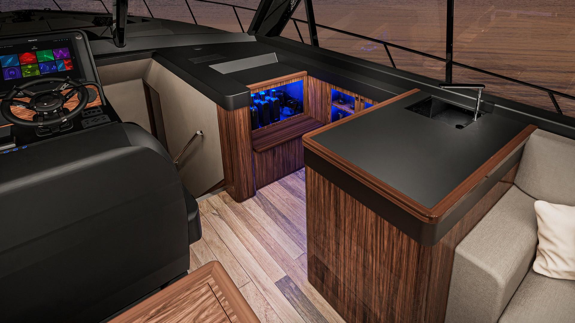 Riviera 645 SUV Wetbar 01 – Classic Edition shown
