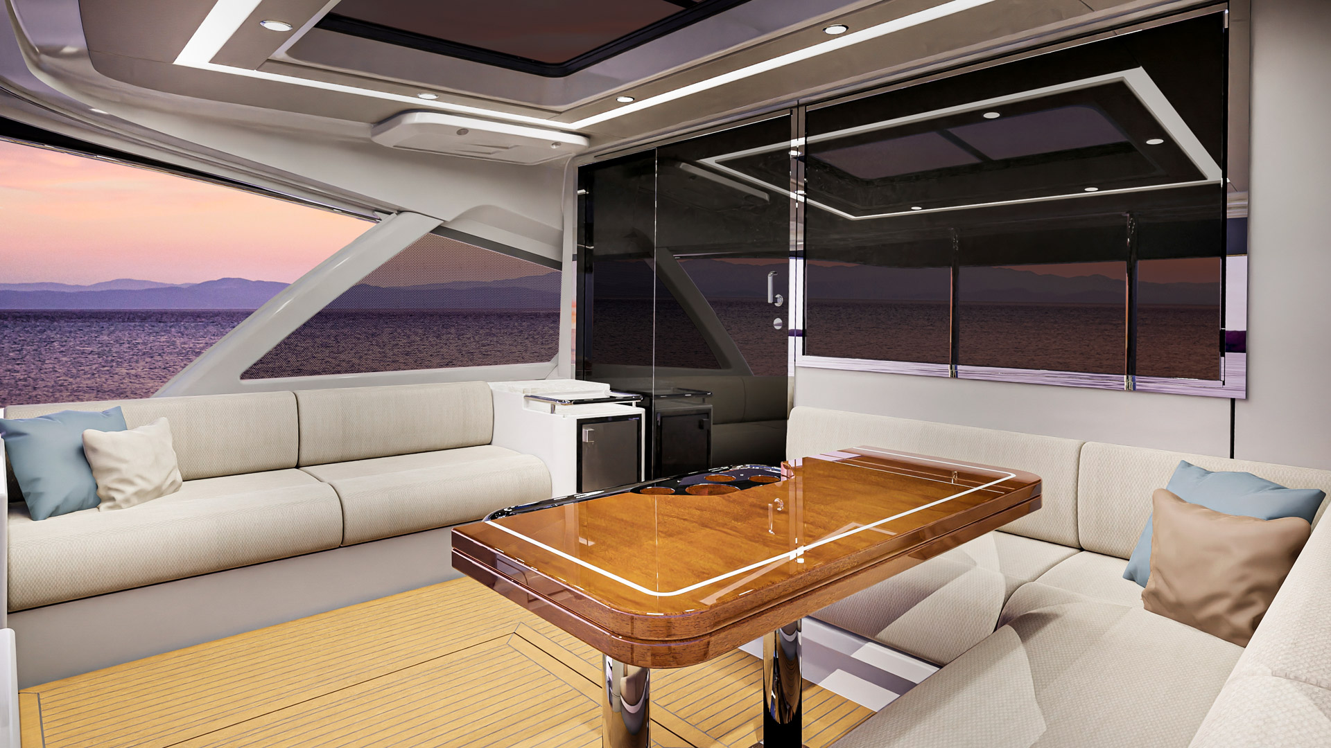 Riviera 645 SUV Alfresco 02 – Newport Edition shown with grey caulked teak