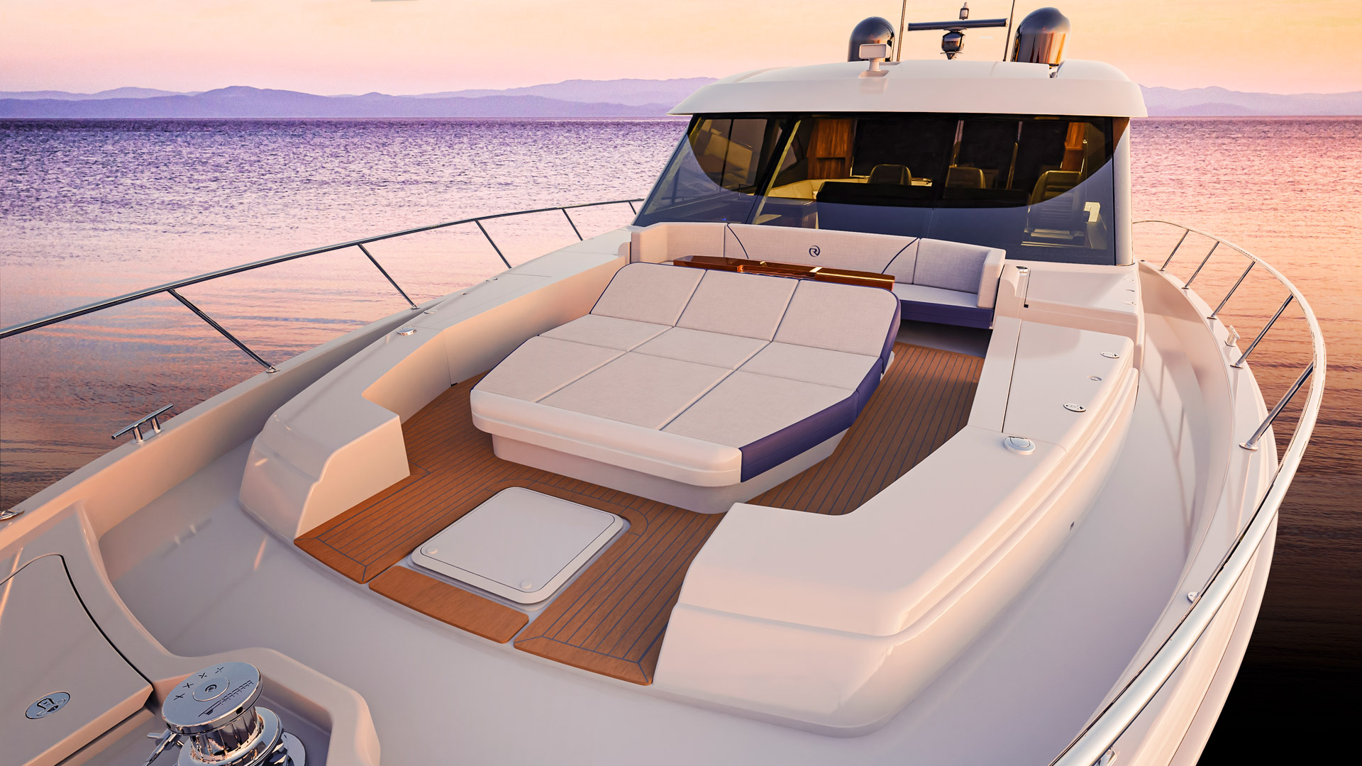 Riviera 645 SUV Foredeck 02 – Newport Edition shown with grey caulked teak