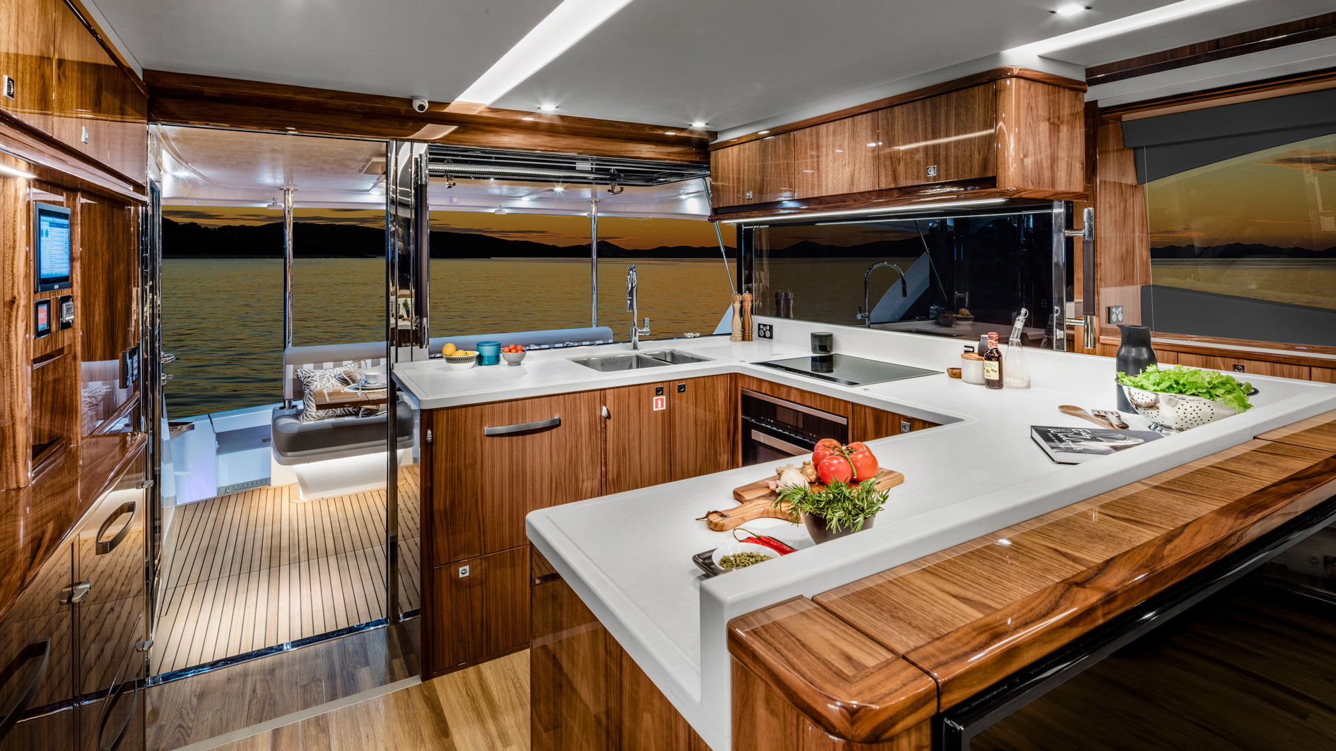 Riviera 68 Sports Motor Yacht Galley 02 – Gloss Walnut Timber Finish R