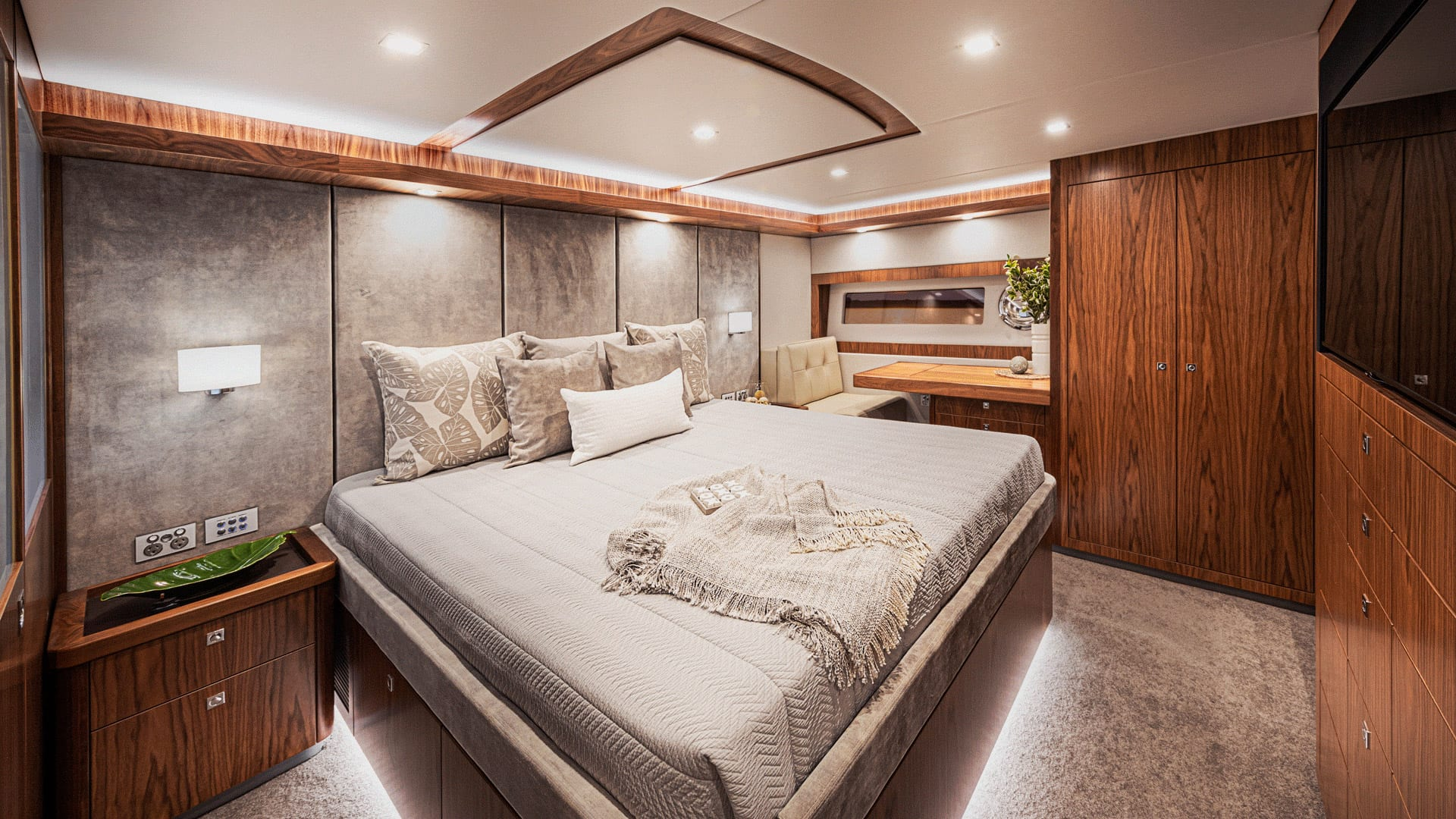 Riviera 68 Sports Motor Yacht Master Stateroom Classic Layout 02 – Satin Walnut Timber Finish