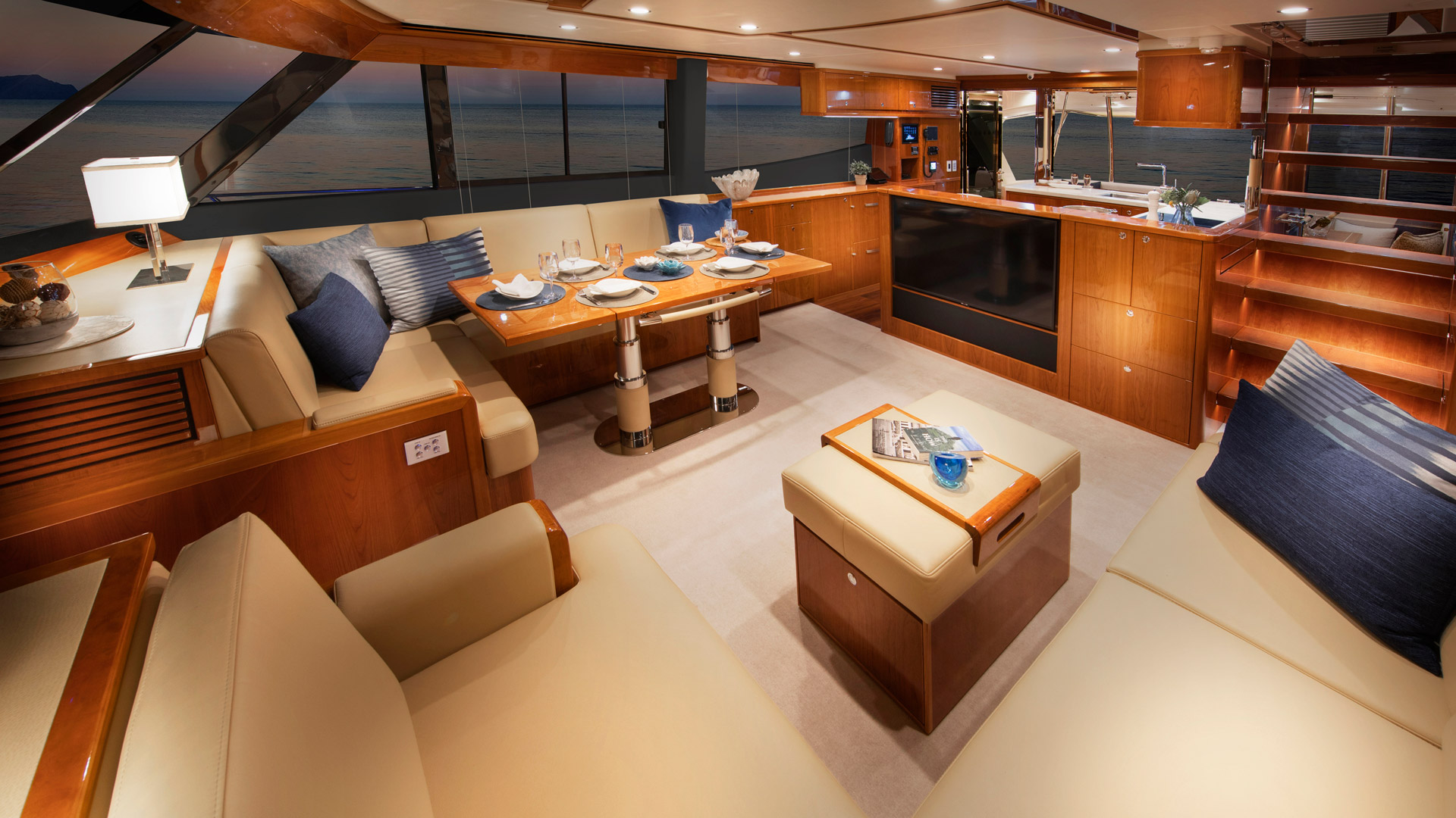 Riviera 68 Sports Motor Yacht Saloon 06 – Gloss Cherrywood Timber Finish R