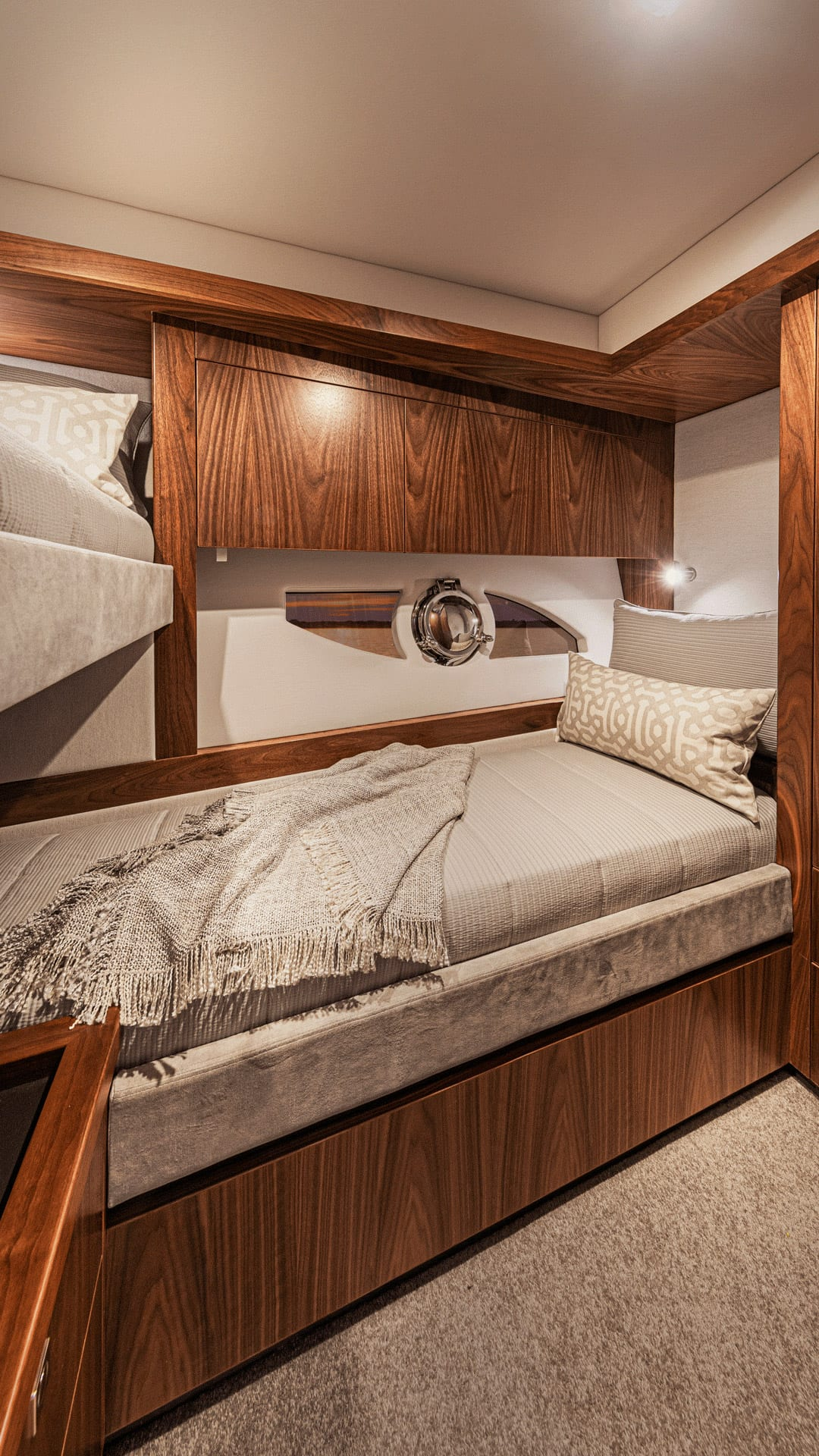 Riviera 68 Sports Motor Yacht Starboard Stateroom 02 – Satin Walnut Timber Finish