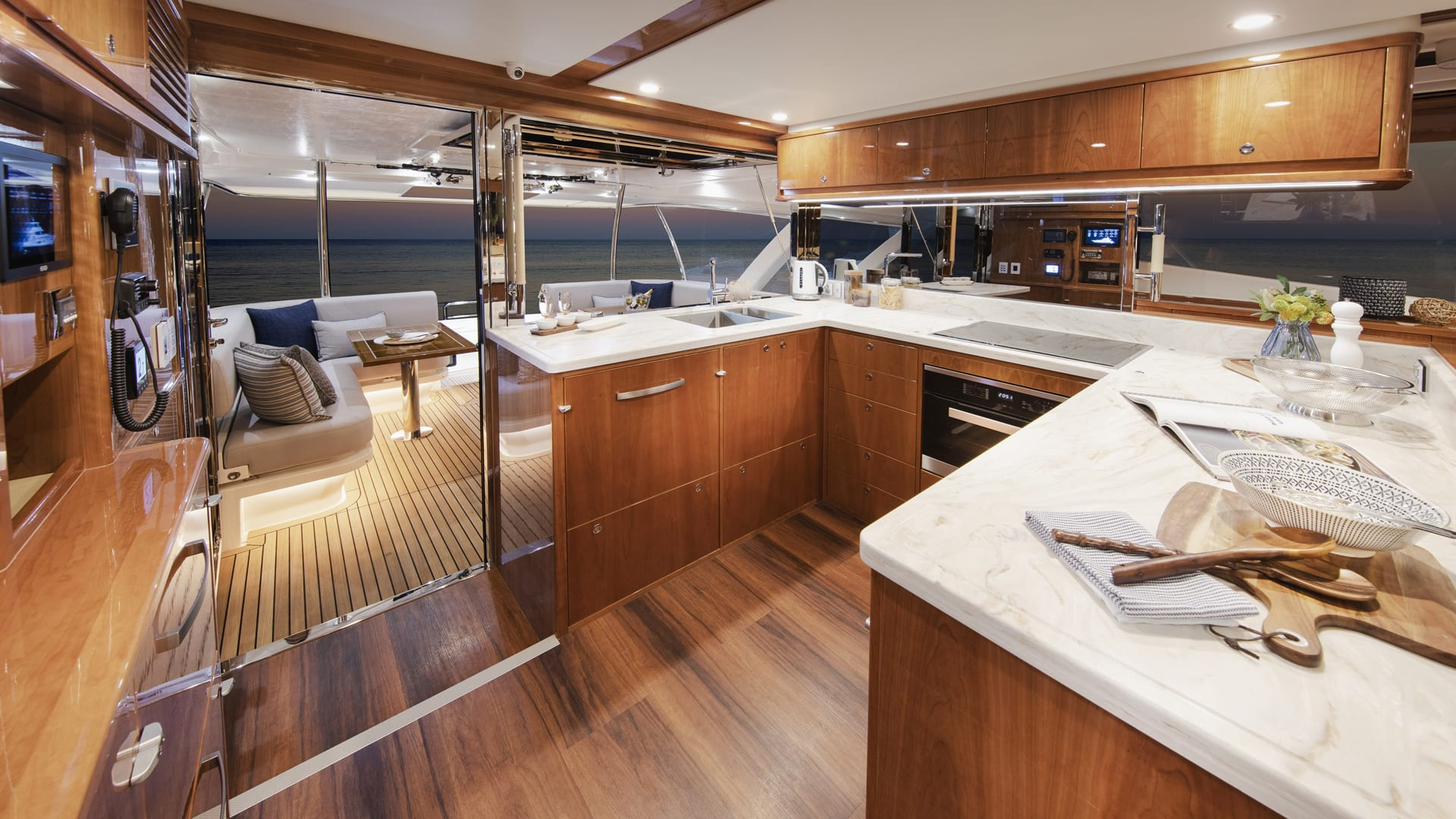 Riviera 72 Sports Motor Yacht Galley 03 – Gloss Cherrywood Timber Finish