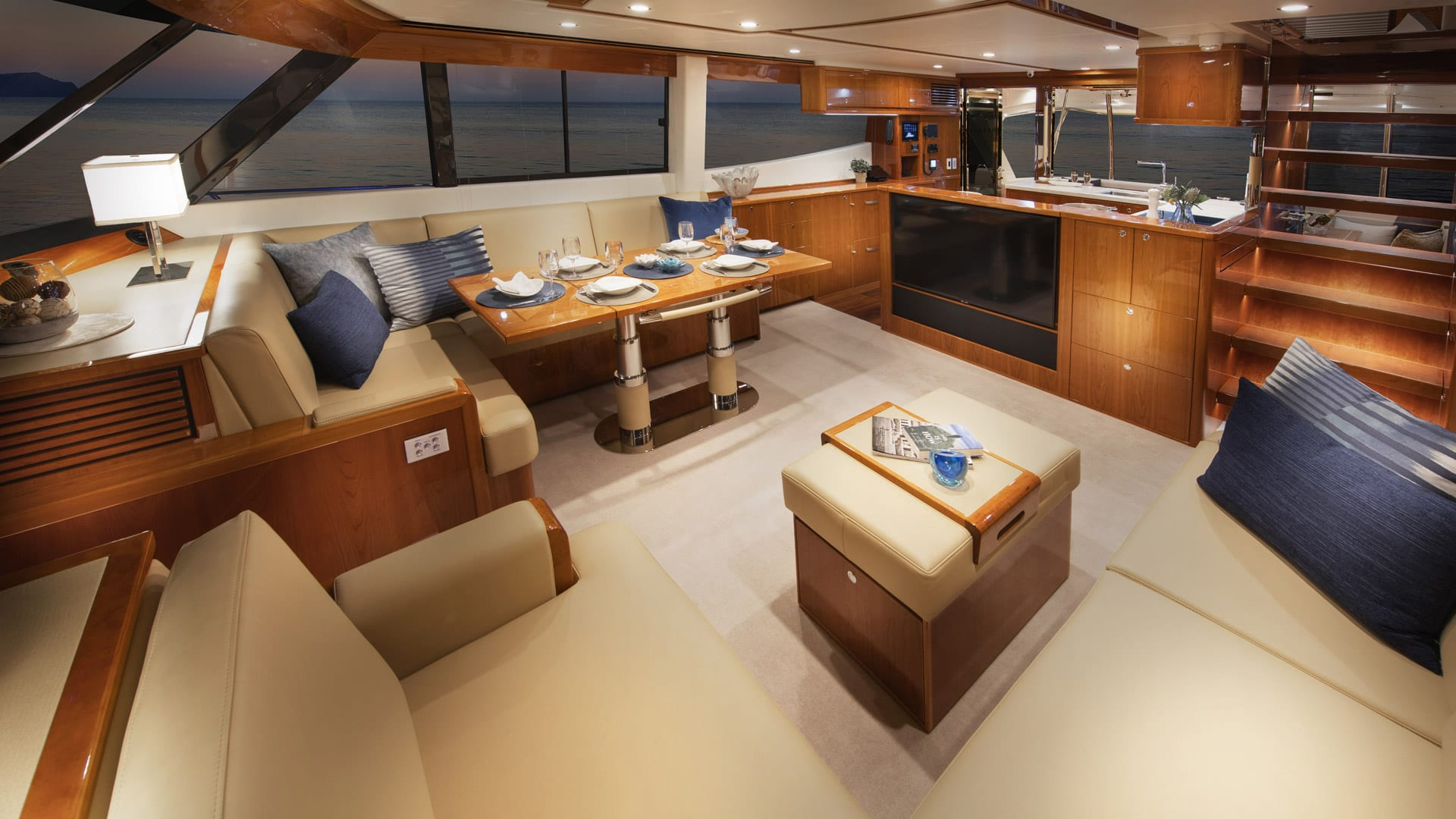 Riviera 72 Sports Motor Yacht Saloon 05 – Gloss Cherrywood Timber Finish