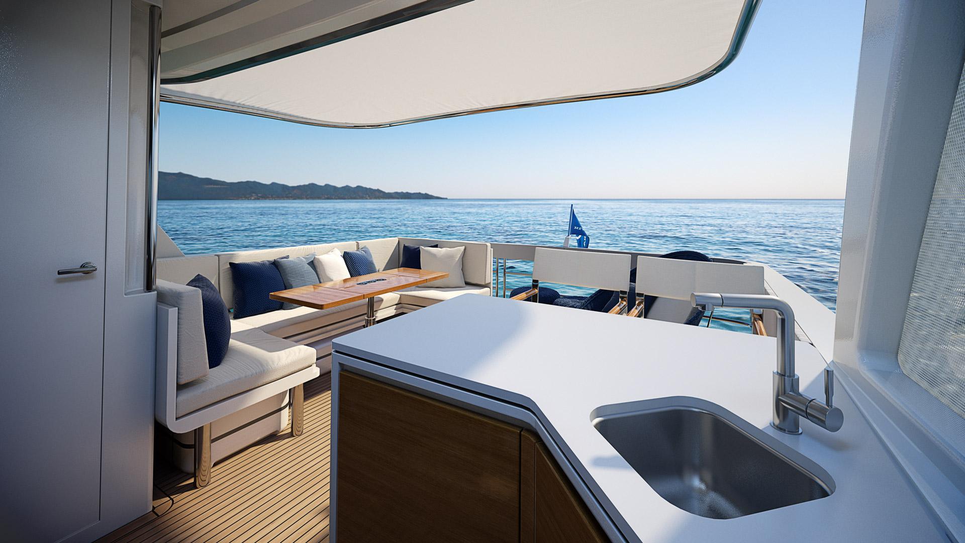 Riviera 78 Motor Yacht Flybridge Aft Deck 03